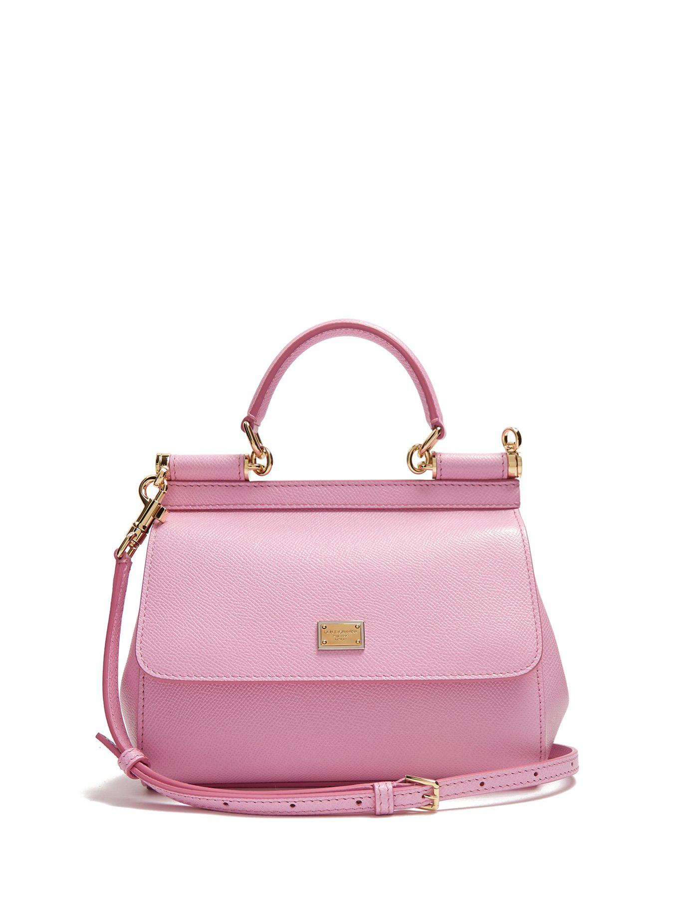 6a80a5fcee1c Lyst - Dolce   Gabbana Sicily Small Dauphine Leather Bag in Pink ...