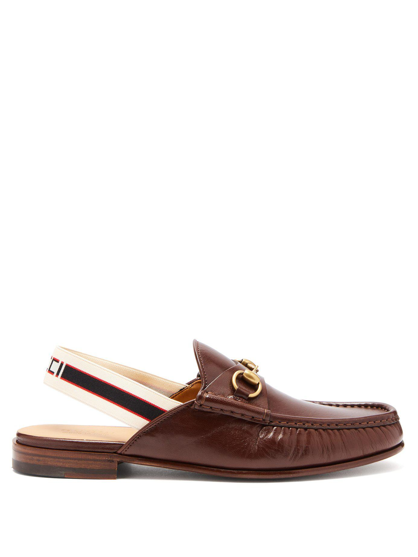 ac0f8fccf47 Lyst - Gucci Roos Horsebit Slingback Strap Leather Loafers in Brown ...