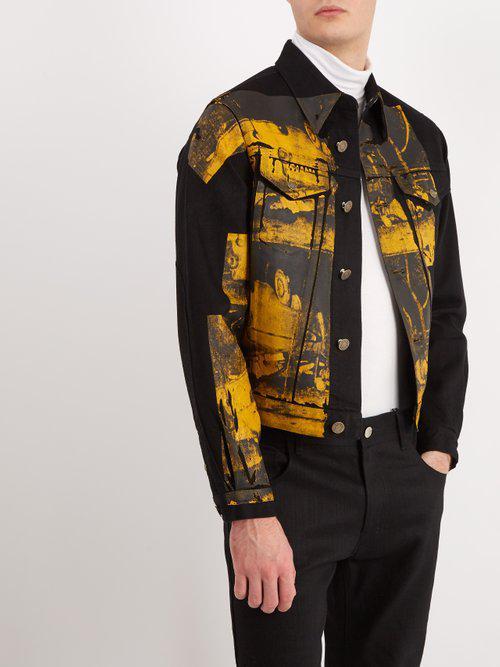 2a09a8b9ad8 Lyst - CALVIN KLEIN 205W39NYC Car Crash-print Denim Jacket in Black ...