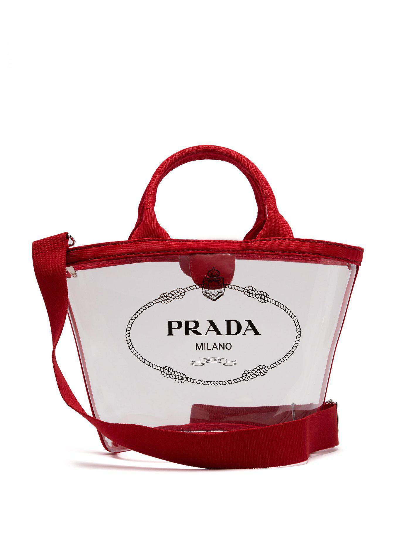 3a07ac3c027e5f Prada - Red Logo Print Clear Pvc Tote - Lyst. View fullscreen
