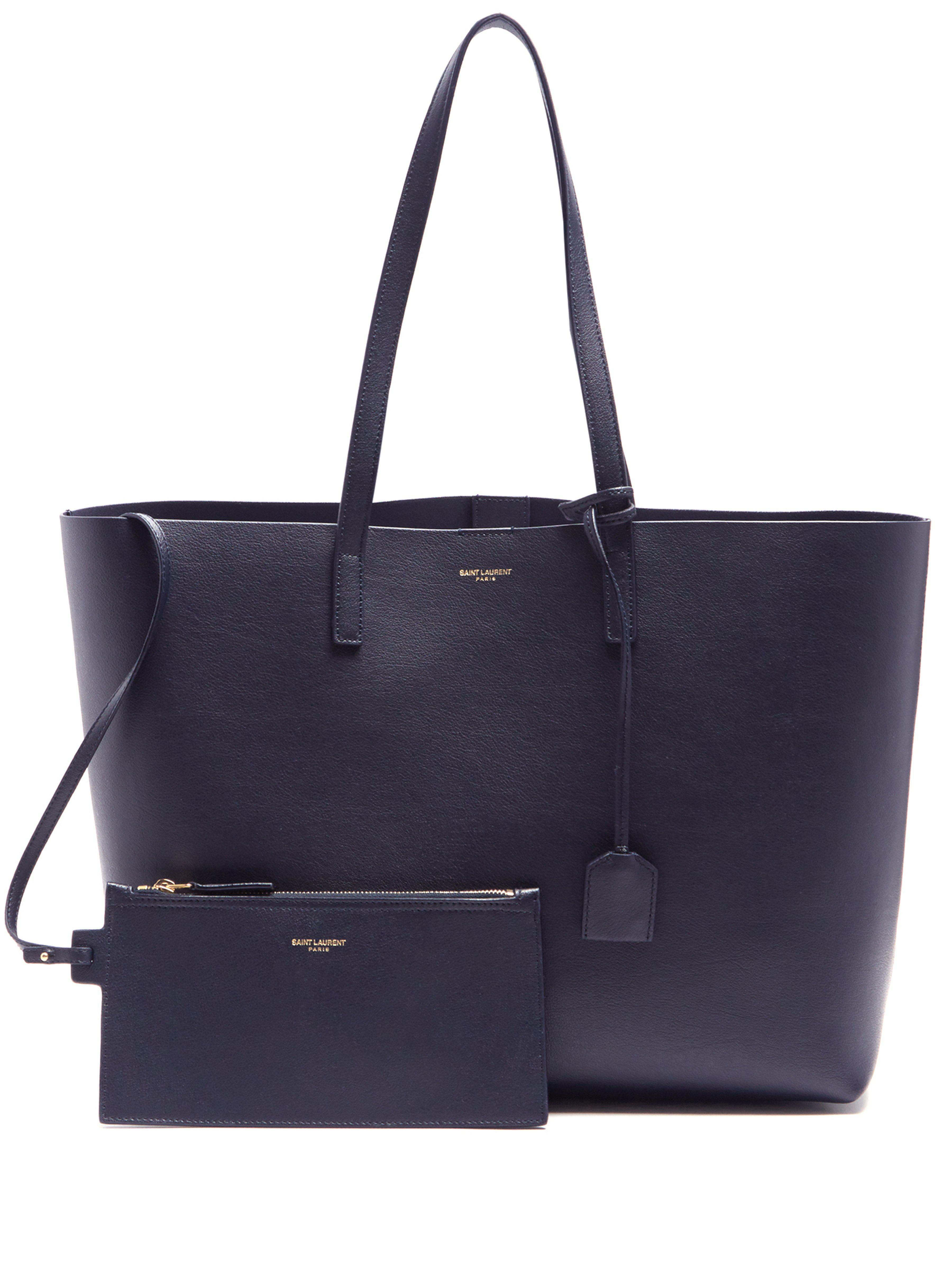 6c32193f0a4c Saint Laurent Medium Leather Tote in Blue - Save 5.839416058394164 ...