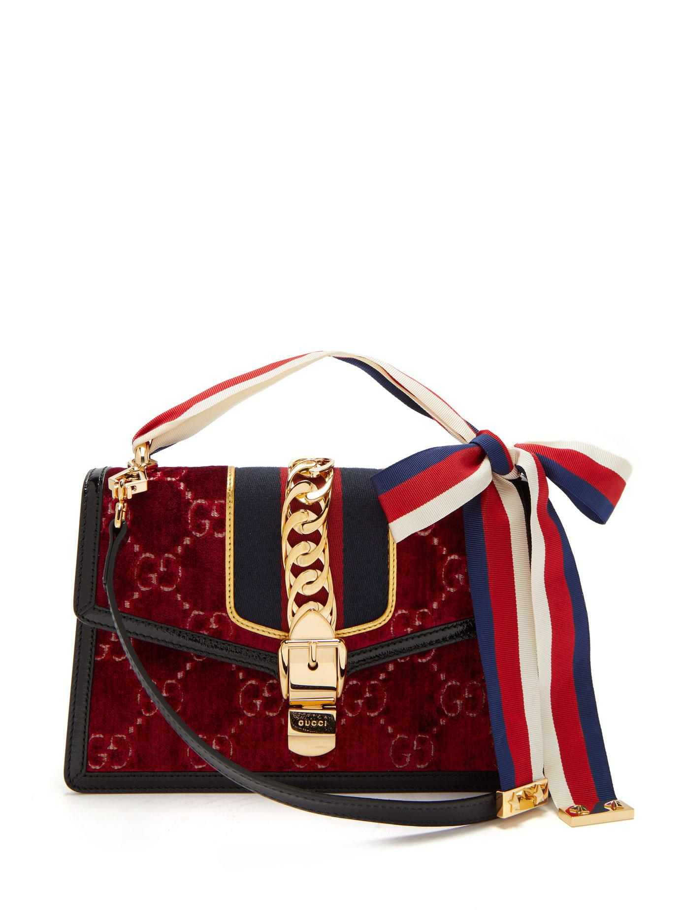 a9a1b2e6b9b Gucci Sylvie Small Velvet Shoulder Bag in Red - Lyst