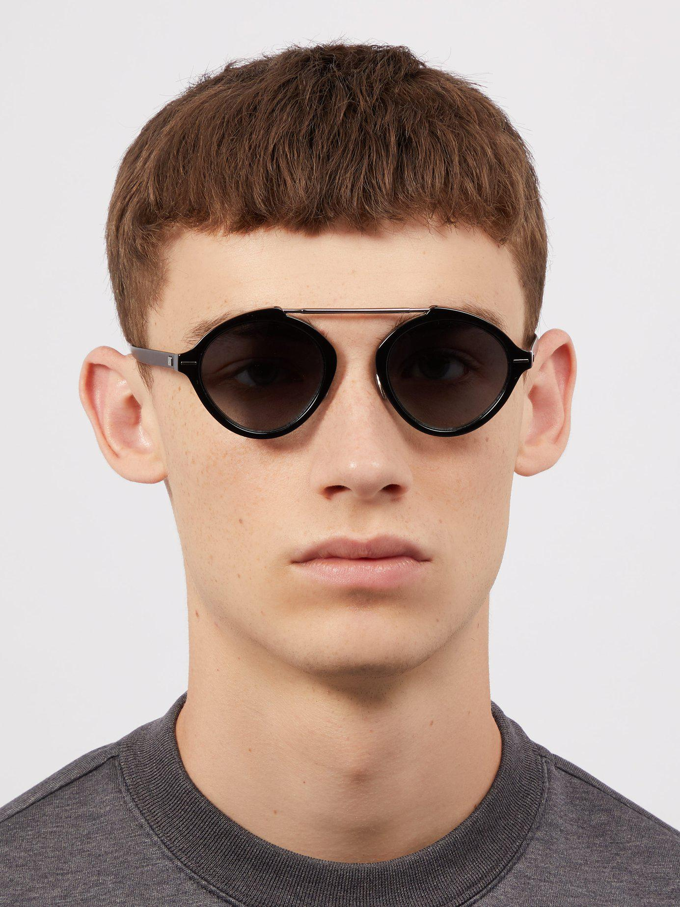 47f313589ad91 Dior Homme System Round Frame Sunglasses in Black for Men - Lyst