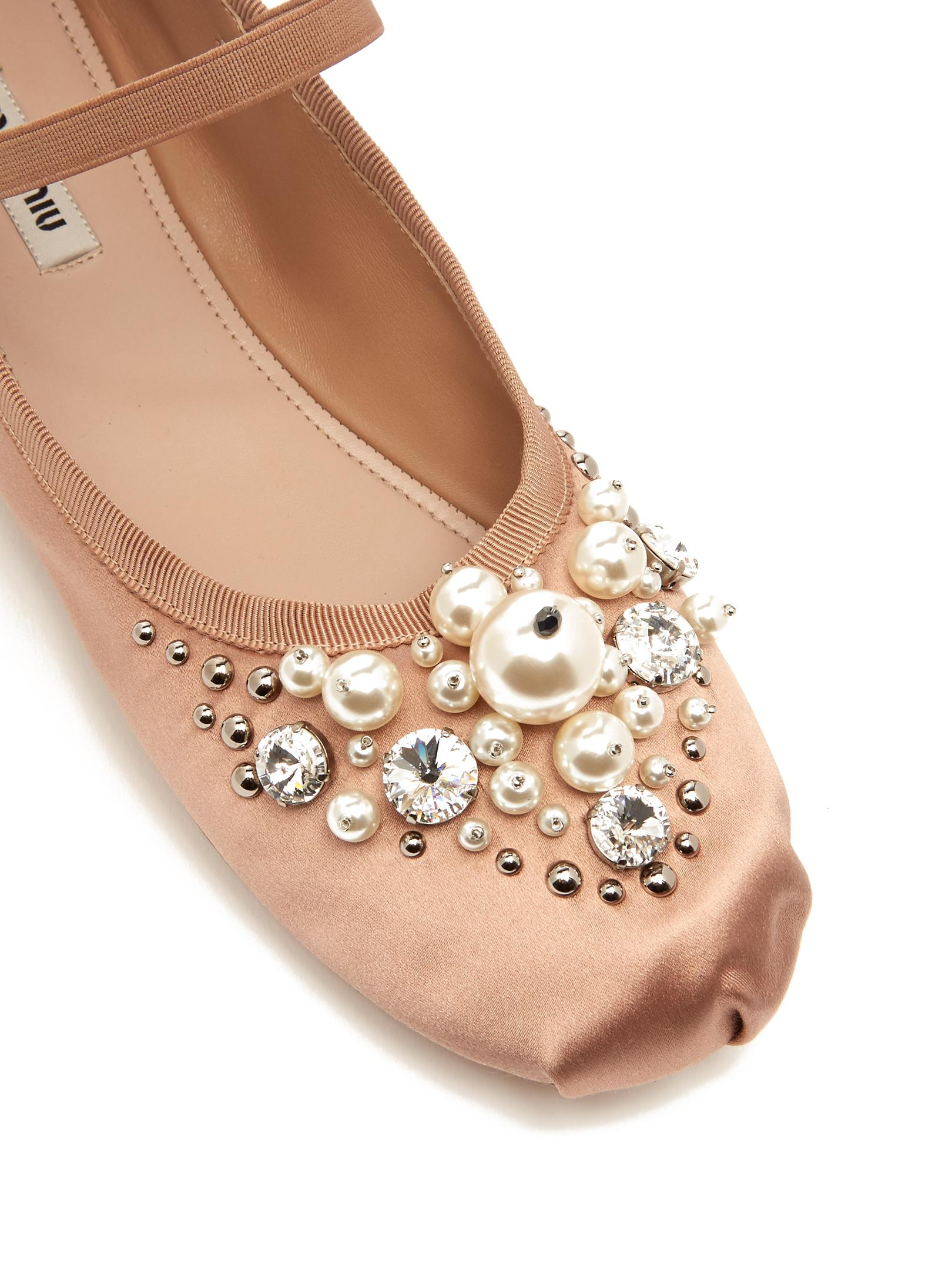 Miu Miu Satin Embellished Flats pictures sale online cheap Inexpensive cheap sale sneakernews genuine oqaT0XT3