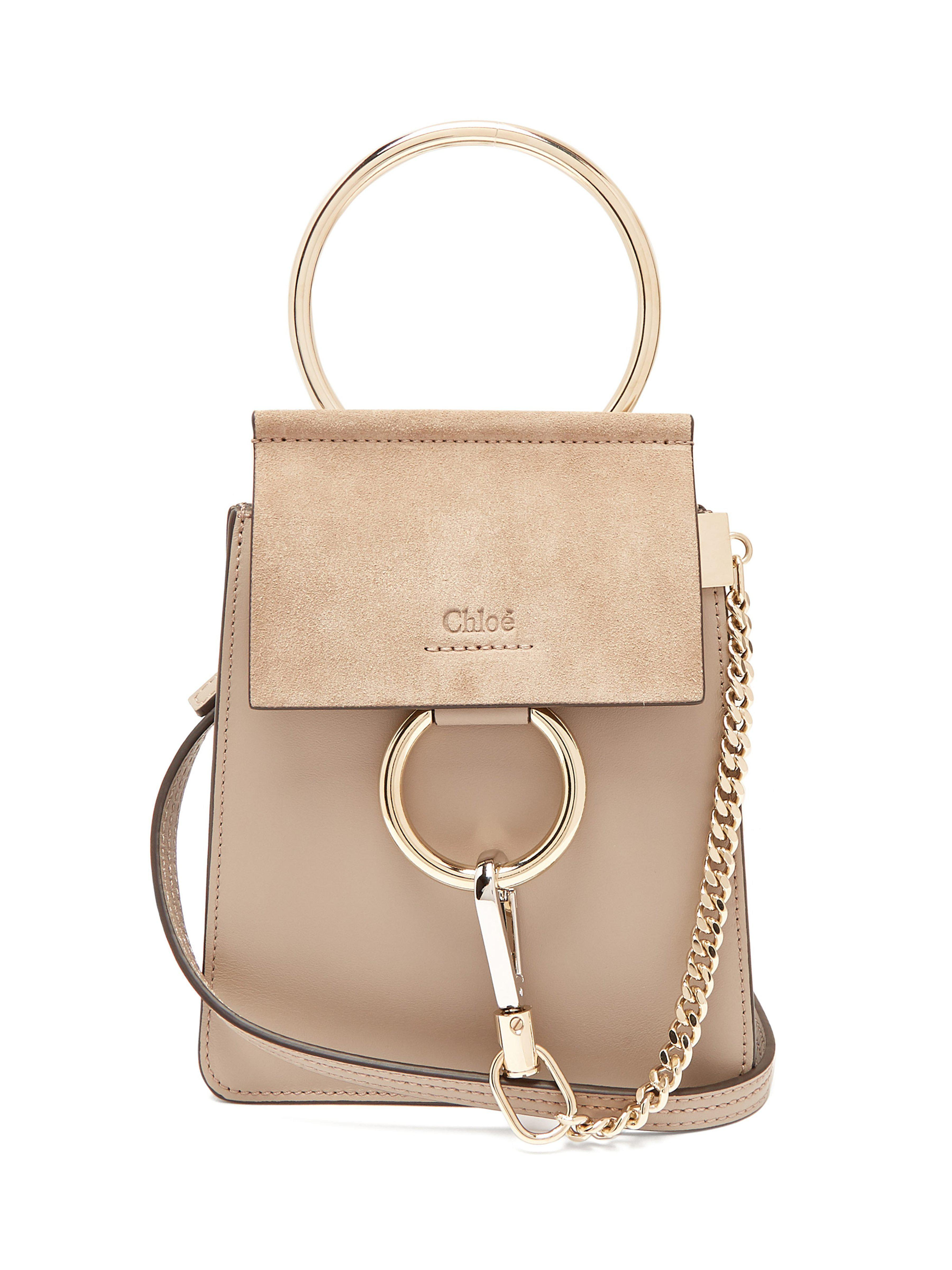 35fc7b6eca8a3 Chloé Faye Mini Suede And Leather Cross-body Bag in Gray - Lyst
