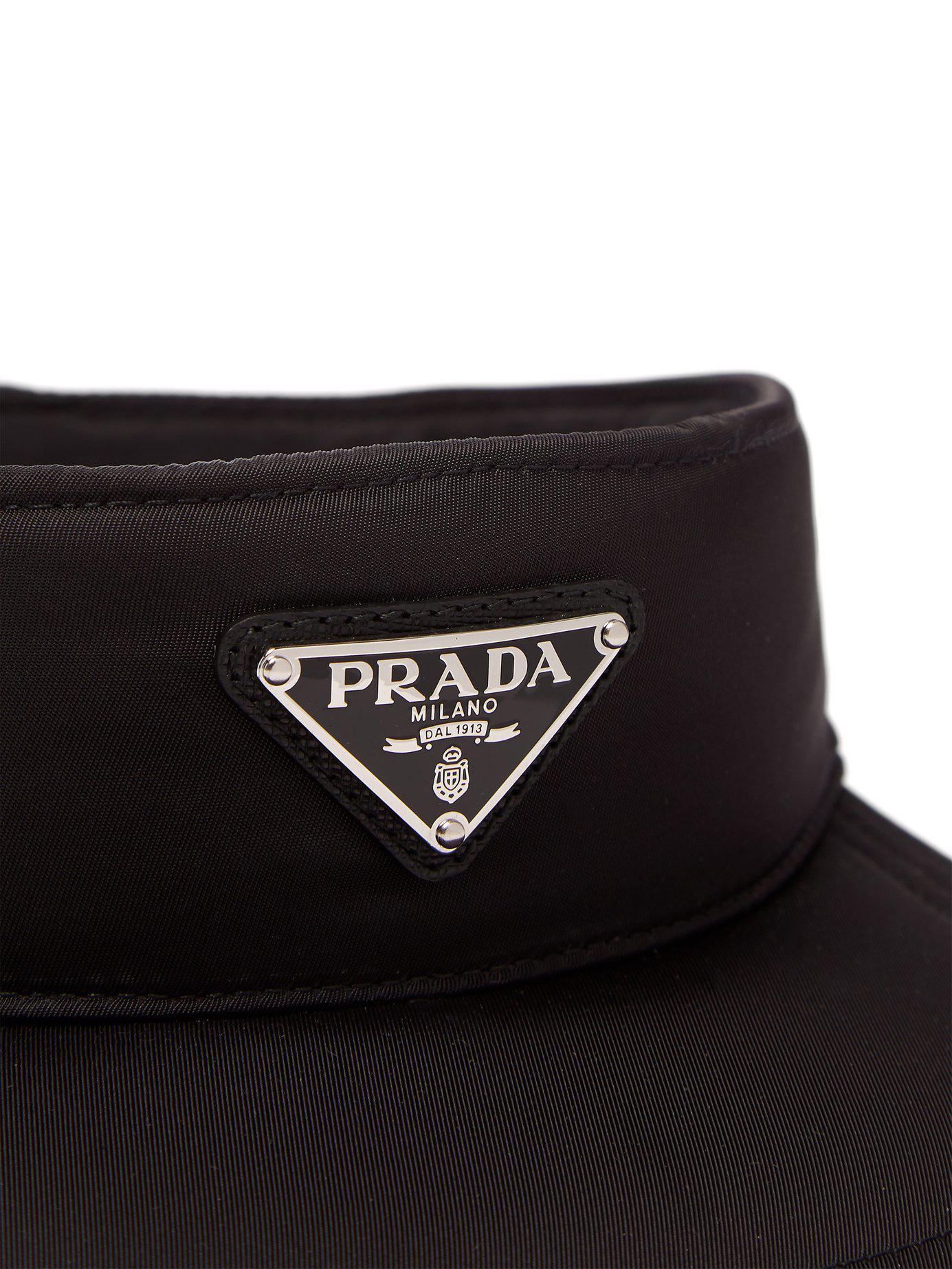 5aea0f90 Lyst - Prada Logo Appliquéd Nylon Visor in Black for Men