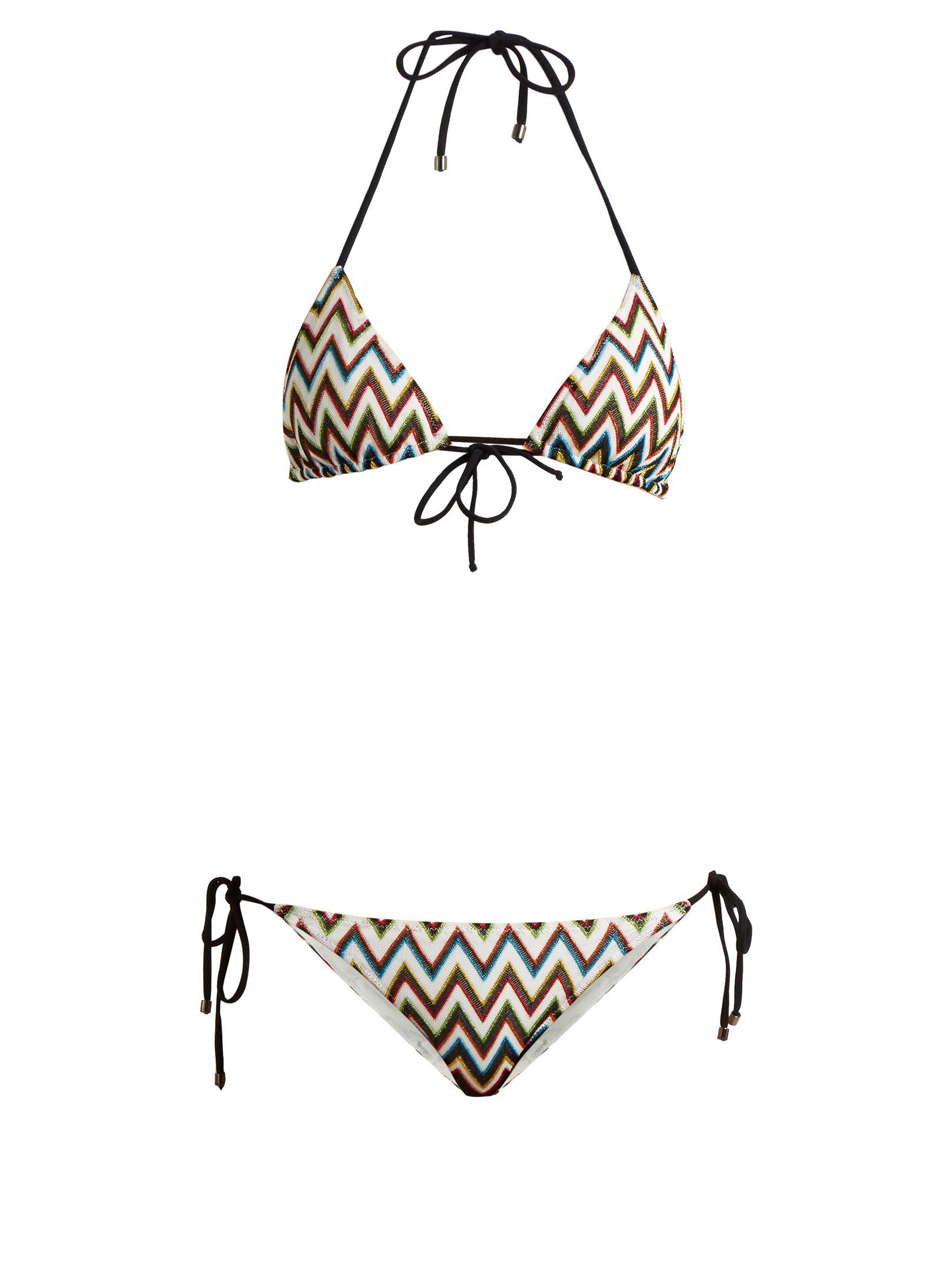 402a8e3608 Lyst - Missoni Zigzag-knit Halterneck Triangle Bikini in Black