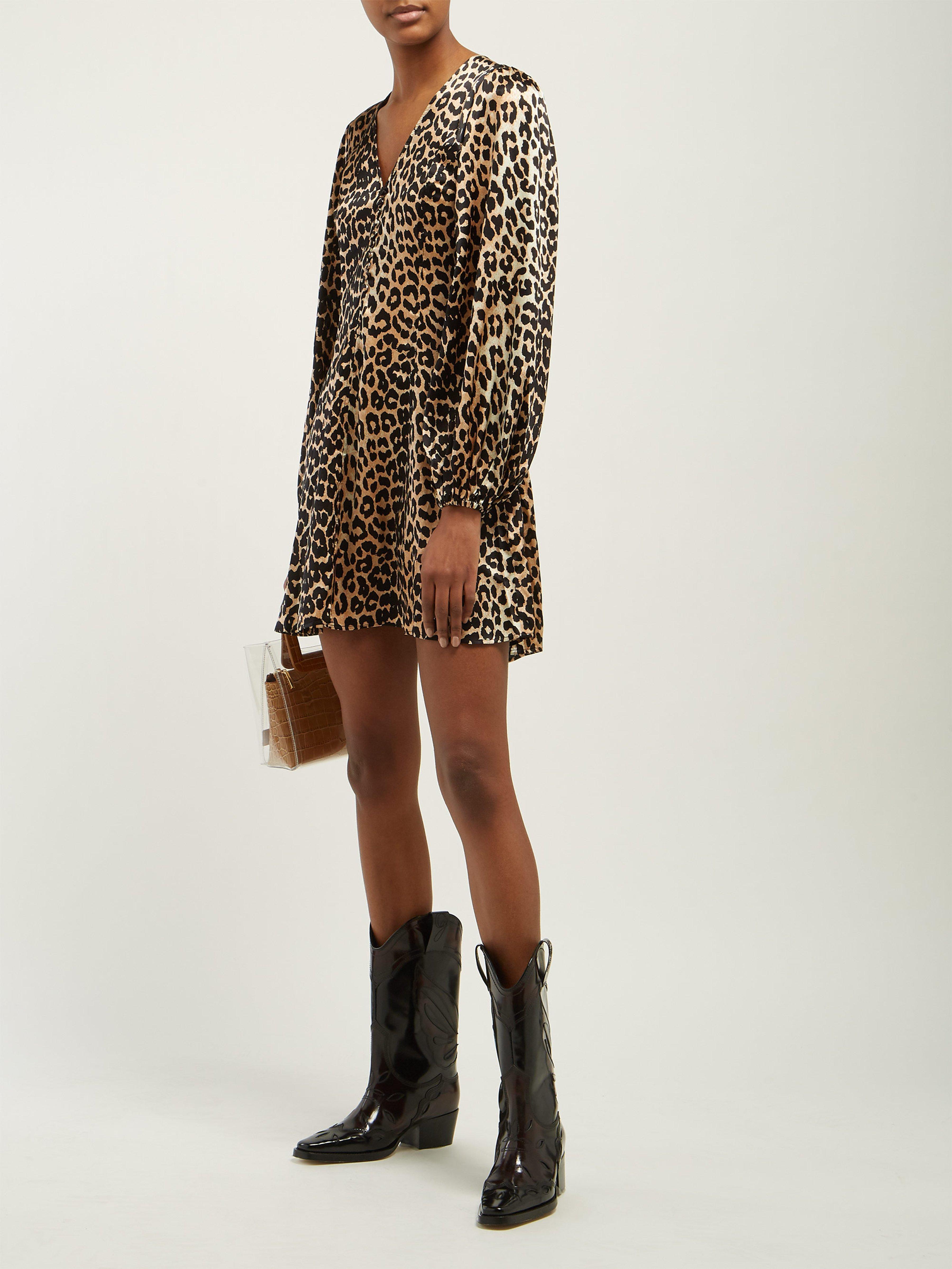 Blakely Lyst Print Brown Ganni Silk Dress Leopard In Mini Blend URgqRPxO