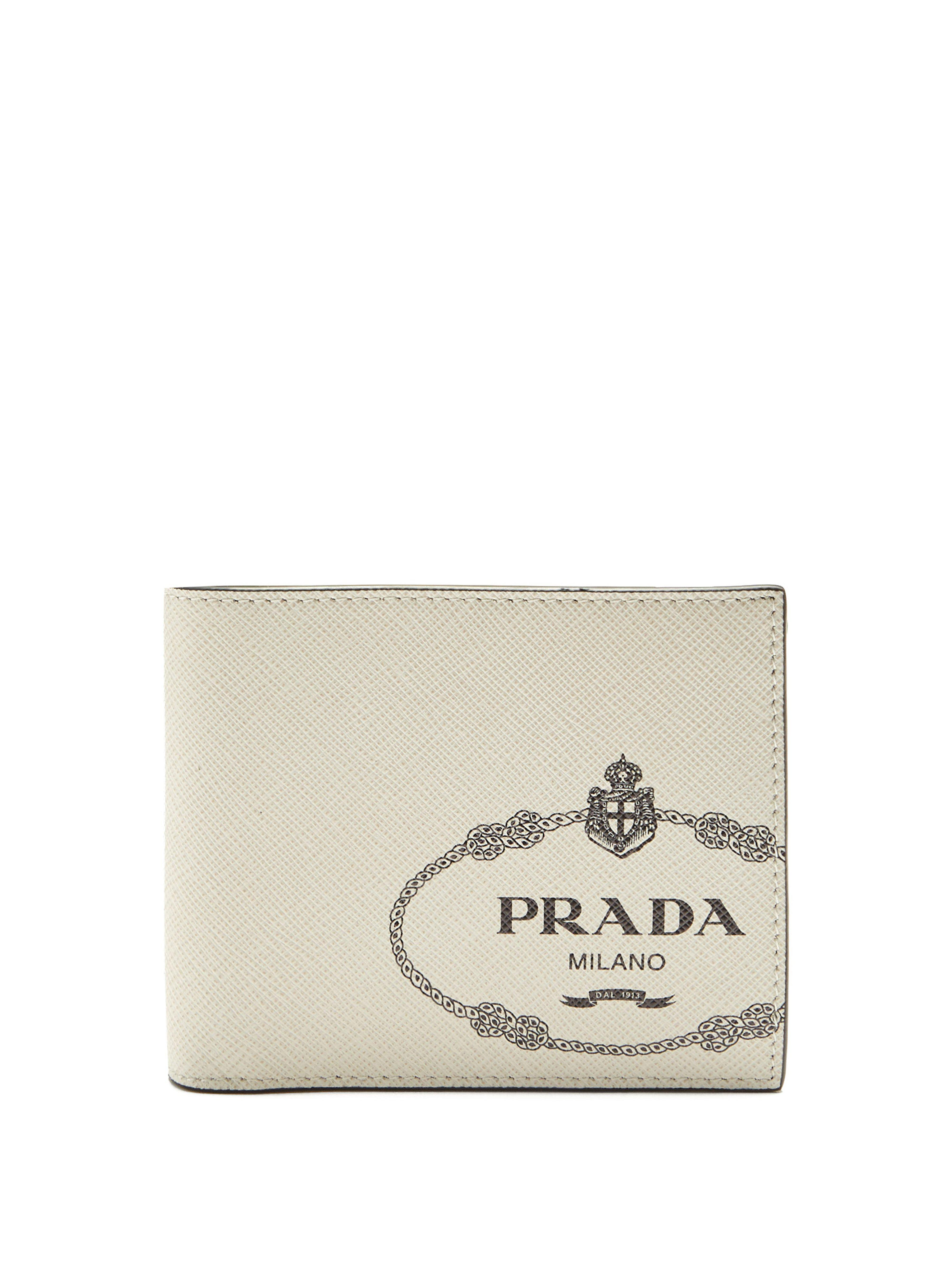 4d86c194e2812c Prada - White Logo Print Bi Fold Leather Wallet for Men - Lyst. View  fullscreen