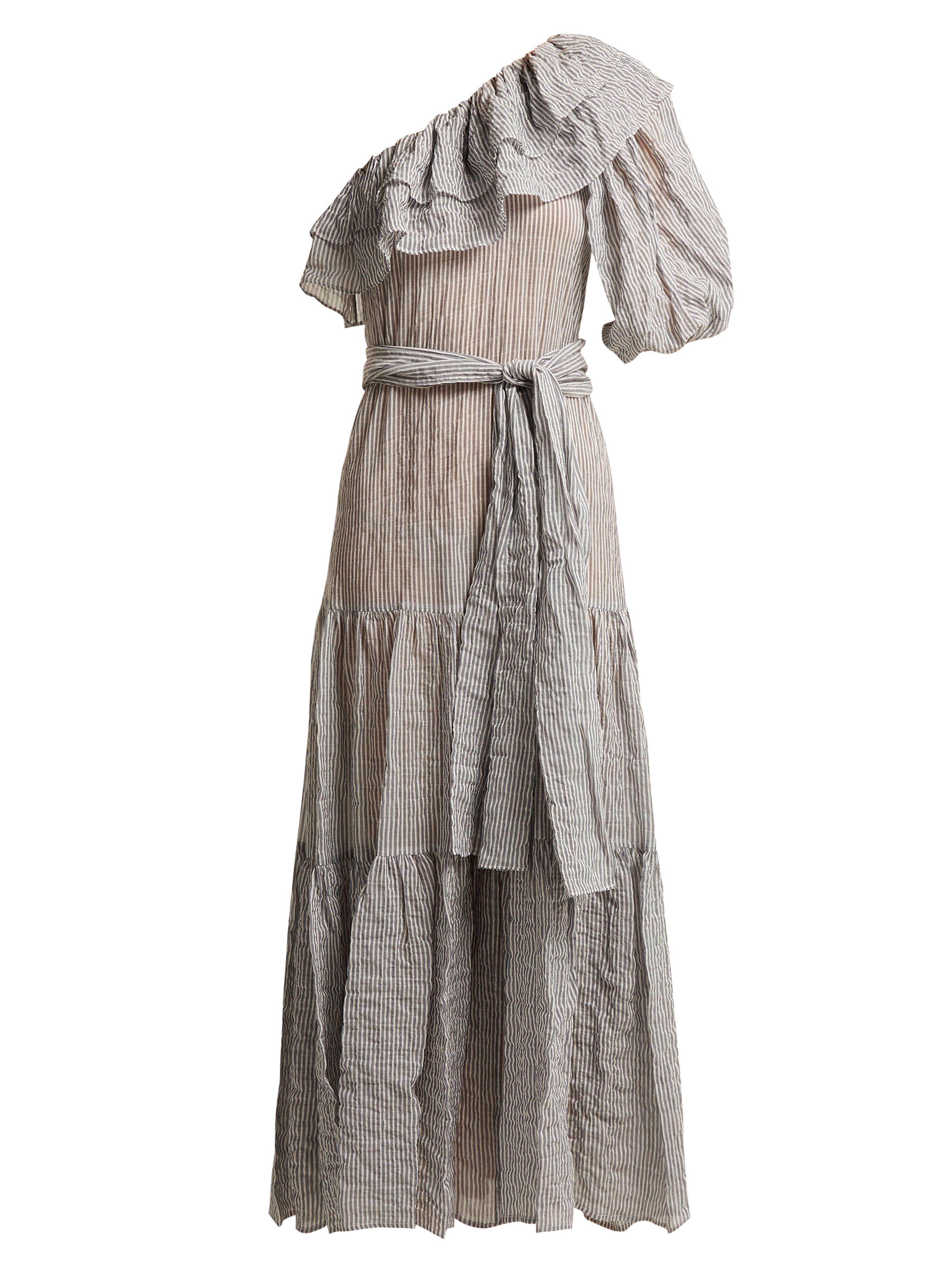 a7d9fb1a0a Lisa Marie Fernandez. Women s Black Arden Ruffle Trim Cotton Blend Dress