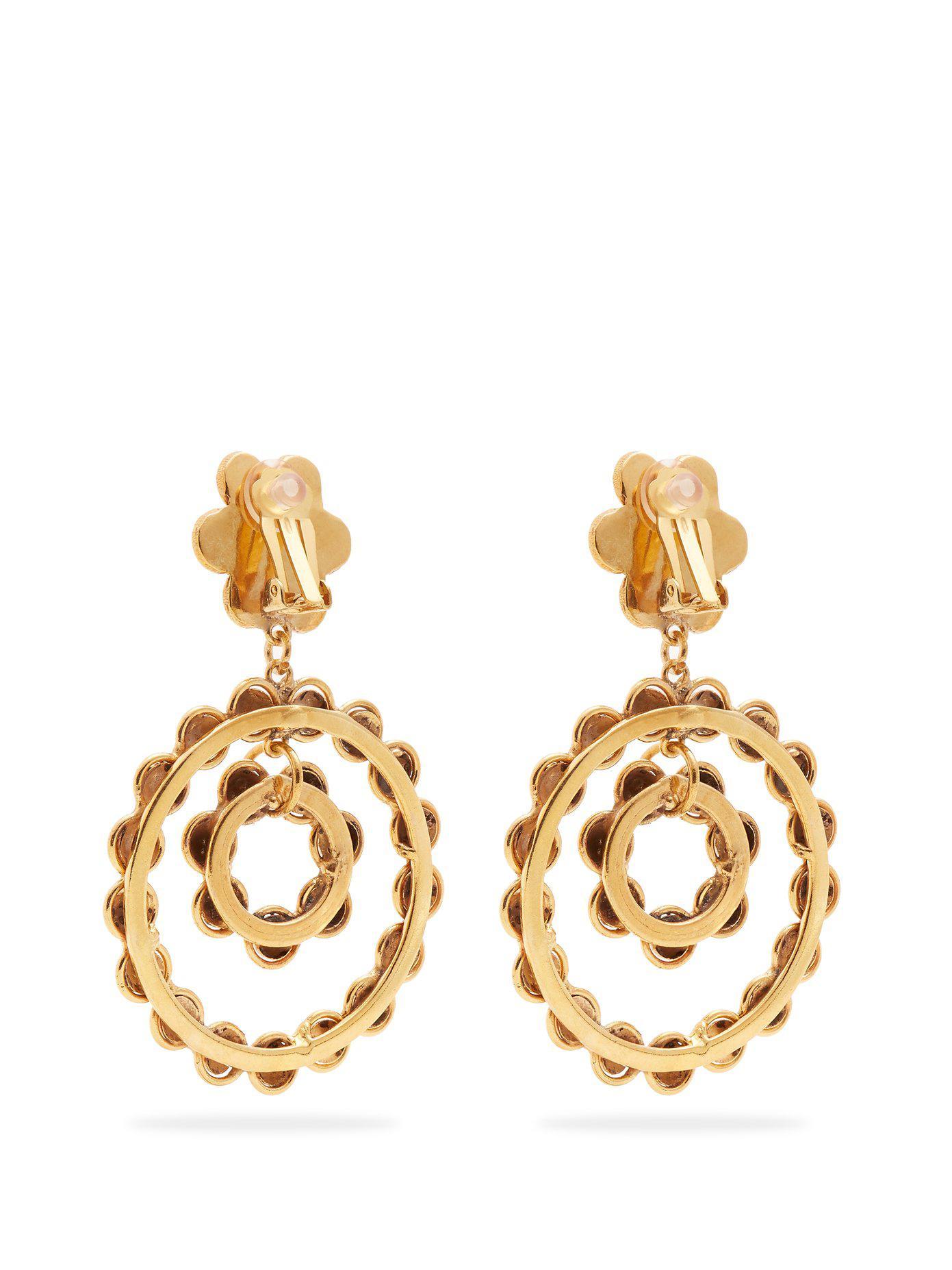 Corail gold-plated clip-on drop earrings Sylvia Toledano VQBQ1u
