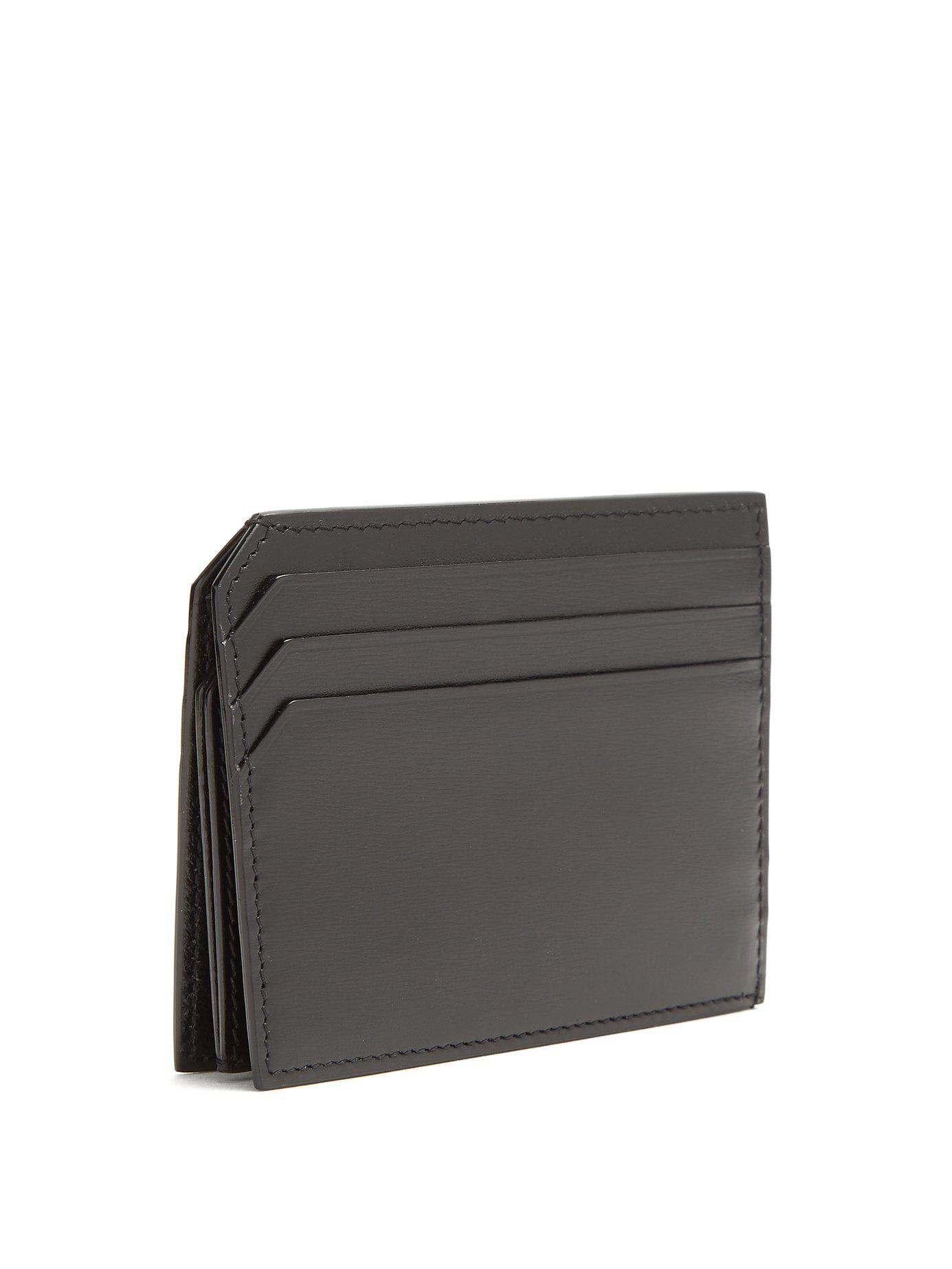 4c0af96d20 Lyst - Saint Laurent Fragments Leather Cardholder in Black for Men