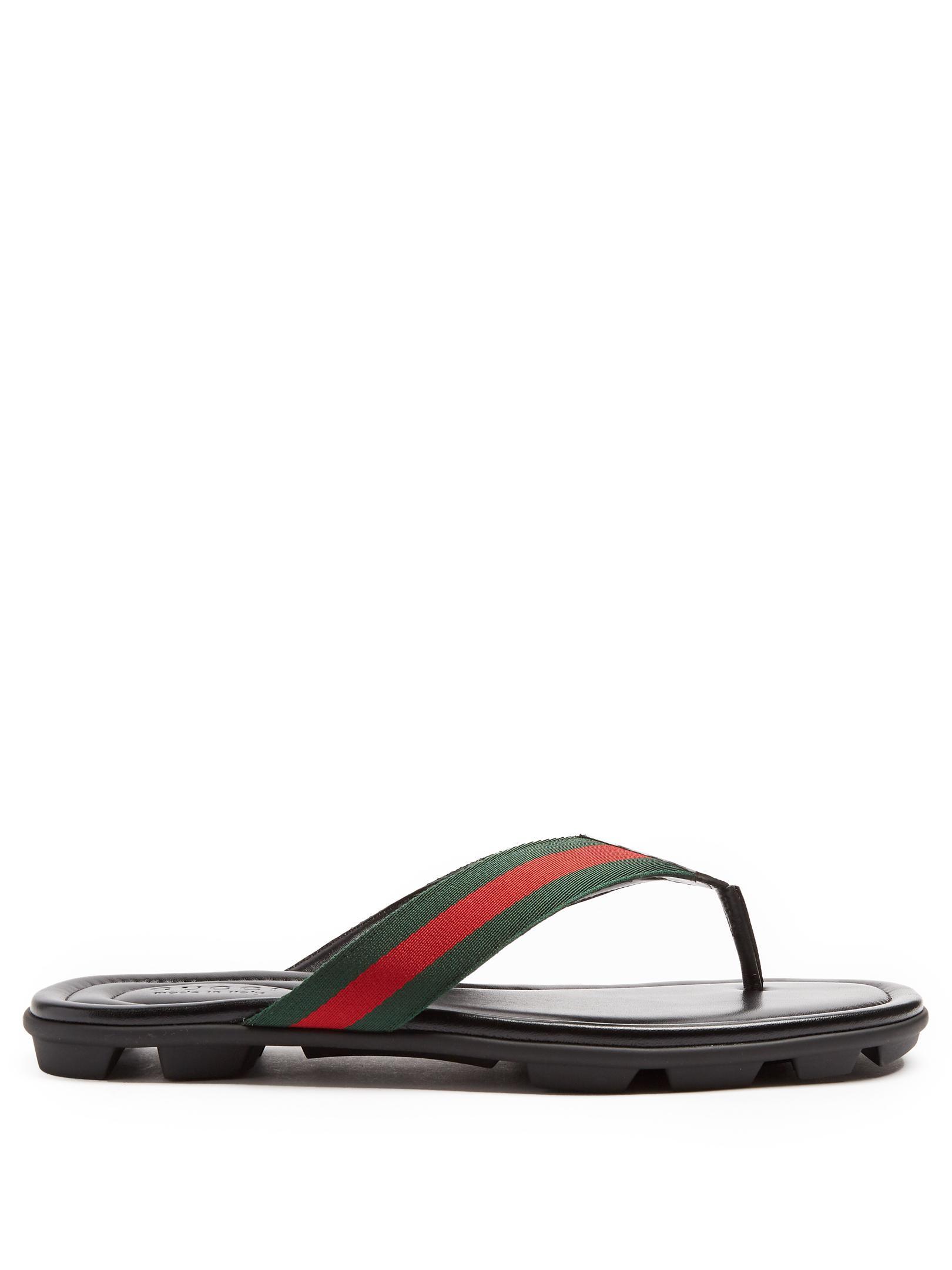 0bd4e5c886d9e4 Lyst - Gucci Titan Web-striped Flip-flops in Black for Men