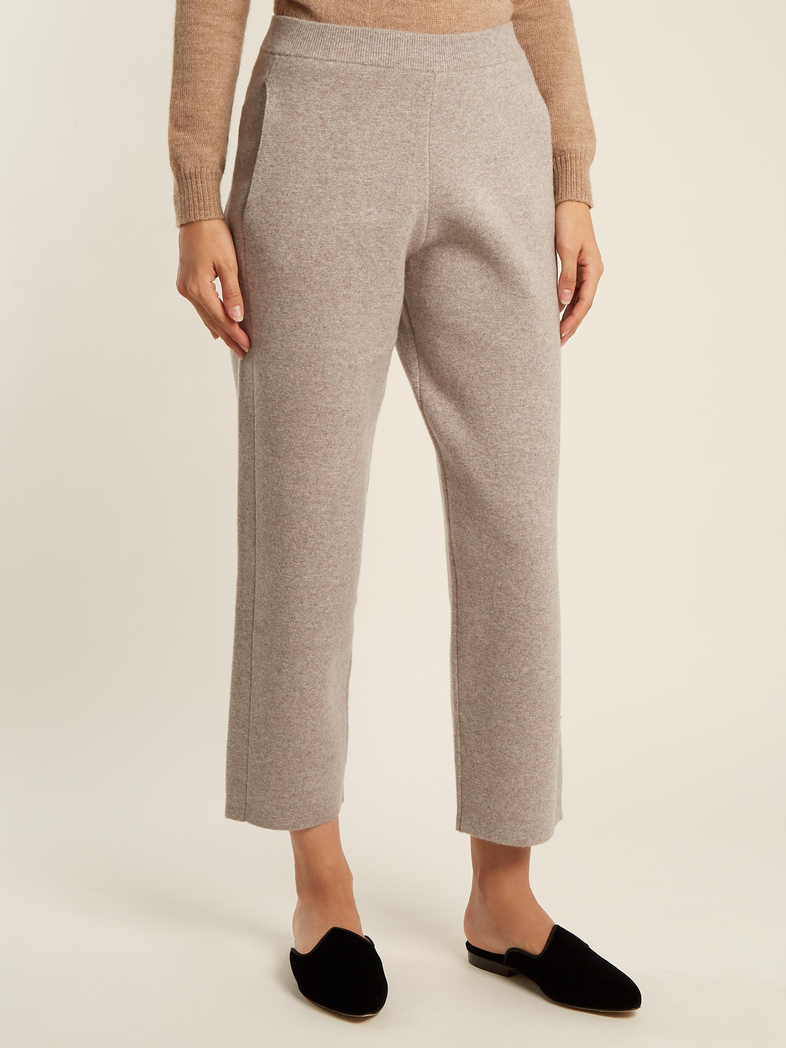 Joseph Wide Leg Cropped Wool Blend Trousers In Natural Lyst
