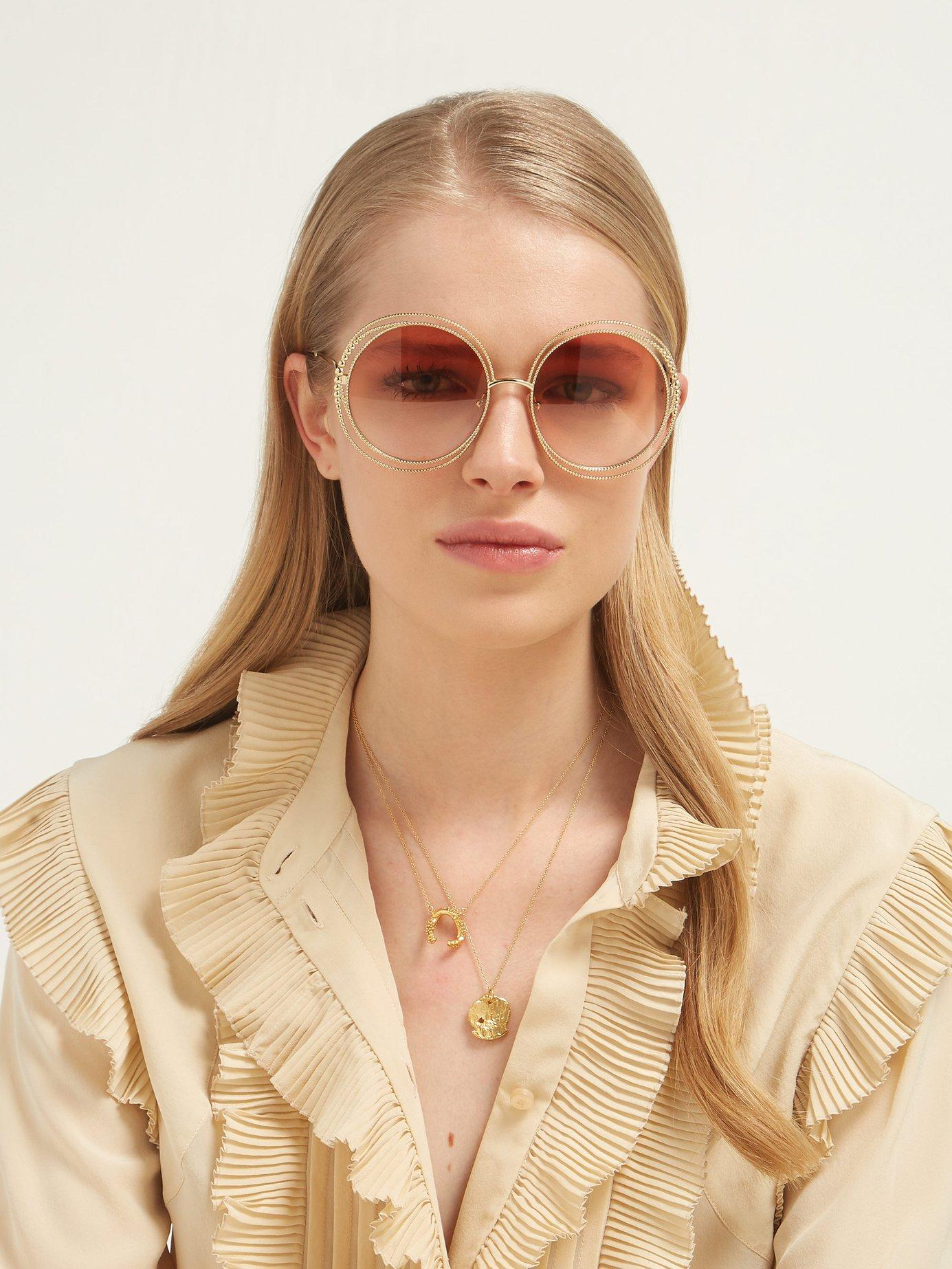 53ae366509 Lyst - Chloé Carlina Chain Frame Oversized Round Sunglasses in Pink