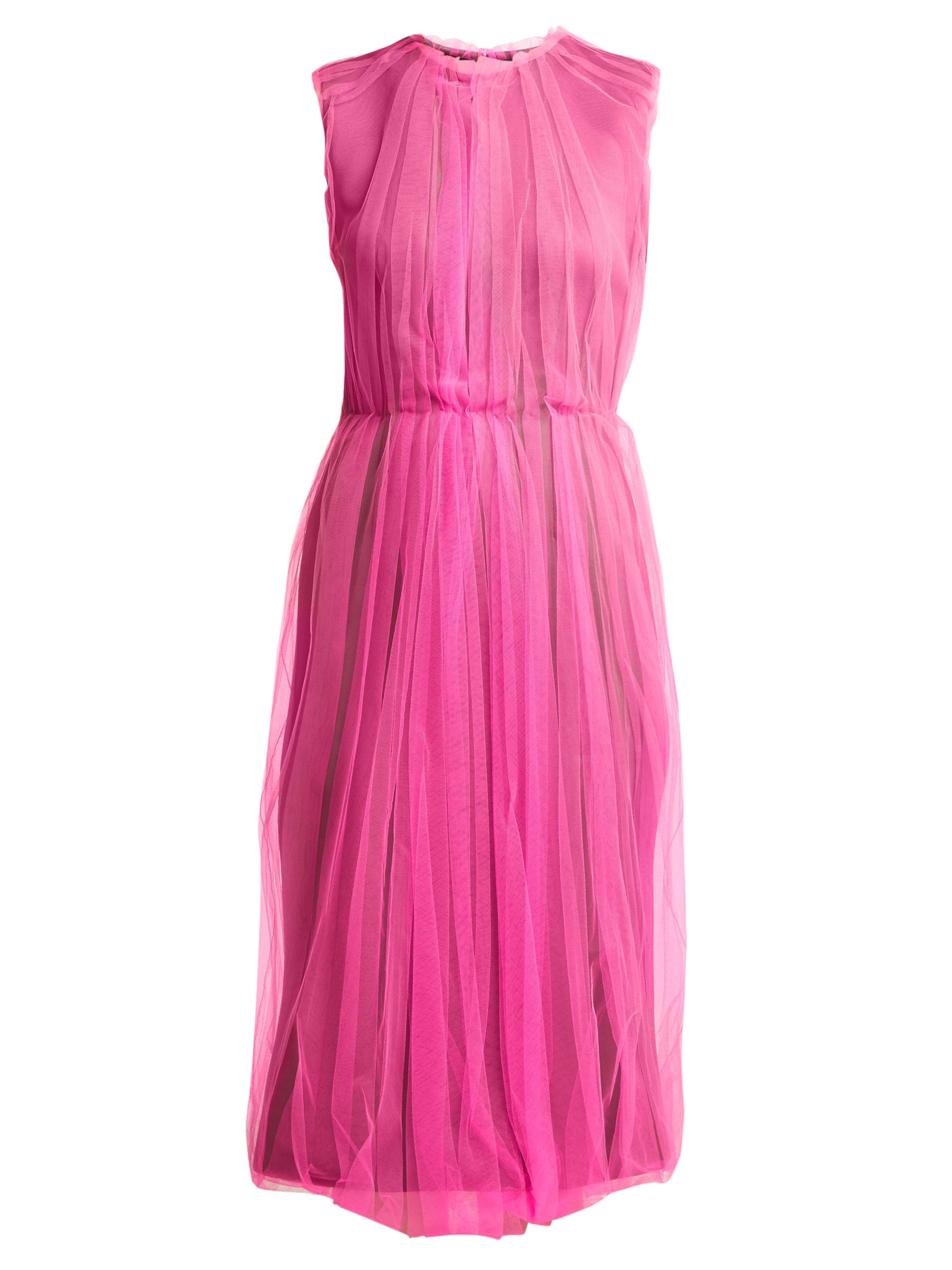 5e4ba013f1 Prada Jersey And Tulle Dress in Pink - Lyst