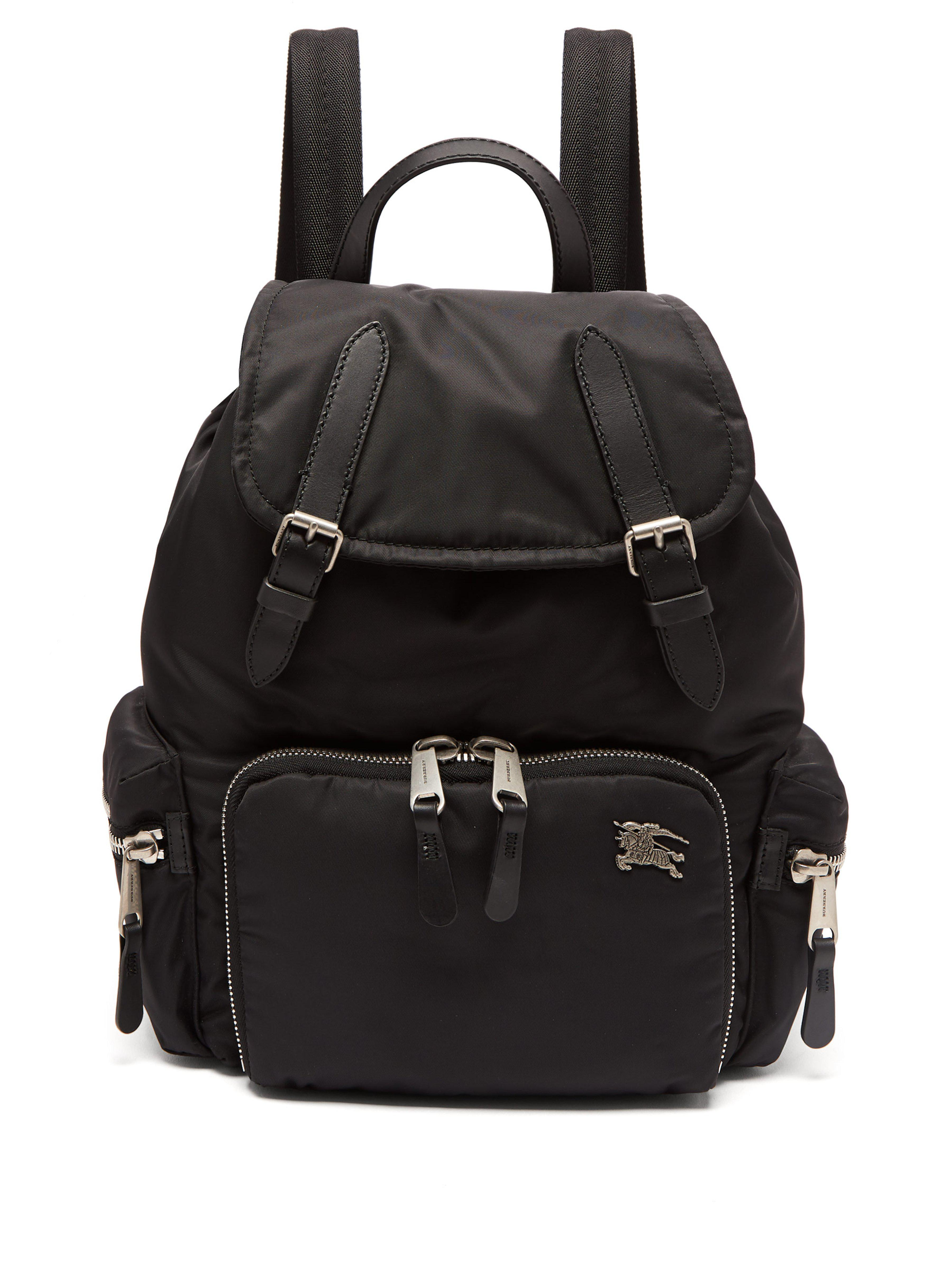 8d569936fa2a Burberry - Black Medium Nylon And Leather Backpack - Lyst. View fullscreen