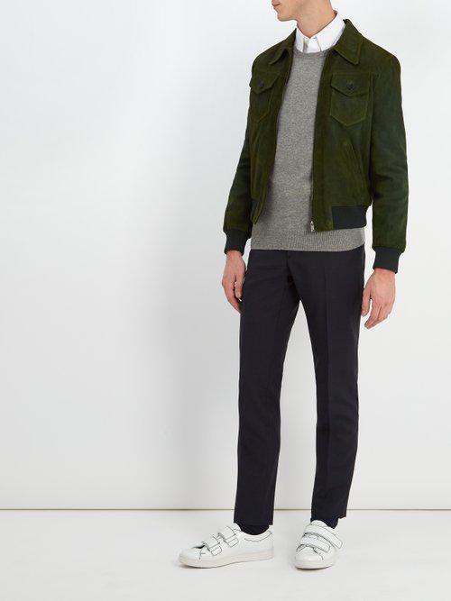 Prada Point-collar Suede Bomber Jacket in Green for Men