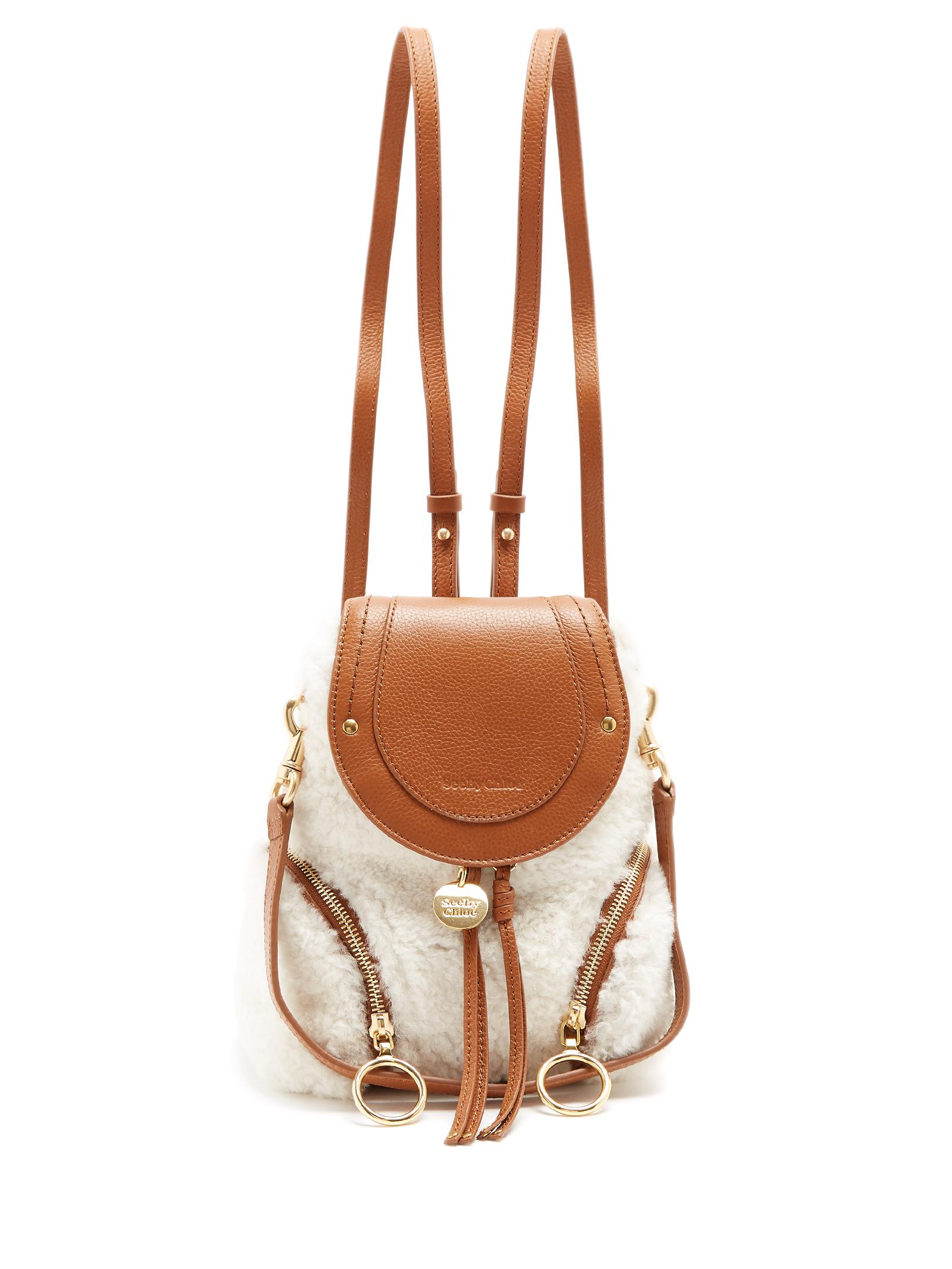 c51d99a9 See By Chloé Olga Small Shearling Backpack in Brown - Lyst