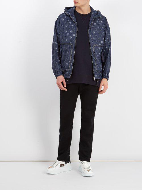 Alexander McQueen Synthetic Skull-print Hooded Jacket in Blue for Men