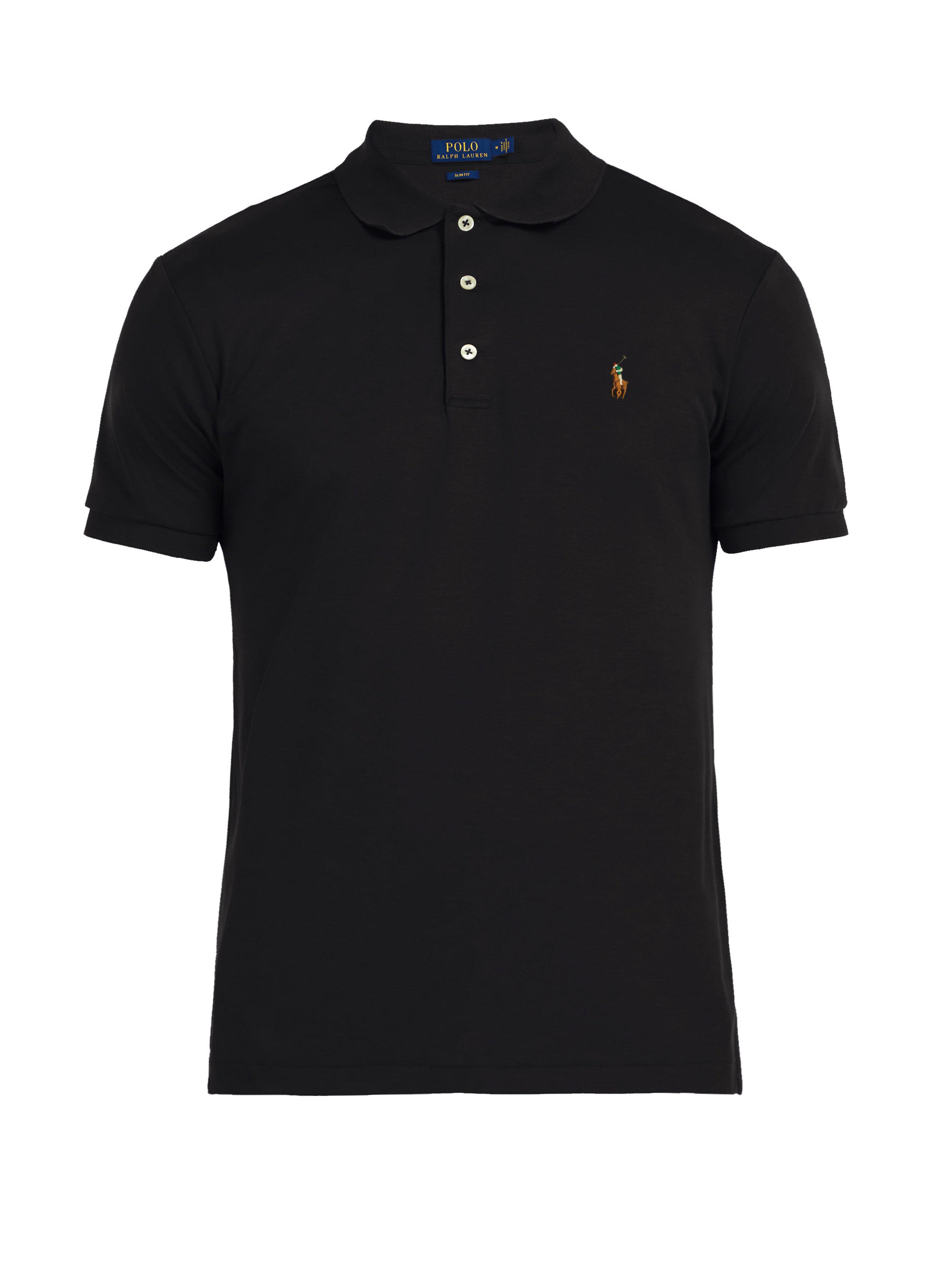 597f4ae8 Polo Ralph Lauren Slim Fit Cotton Polo Shirt in Black for Men - Lyst