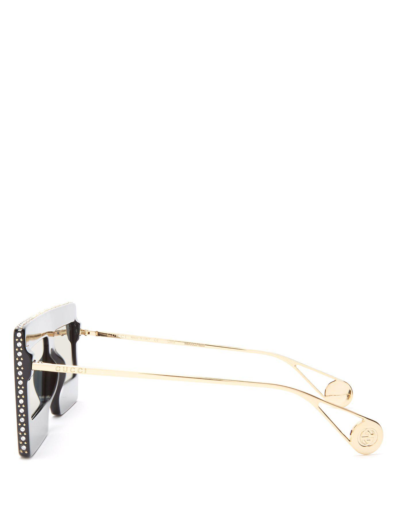6cb929bb5d8 Gucci - Metallic Hollywood Forever Embellished Mirrored Sunglasses - Lyst.  View fullscreen