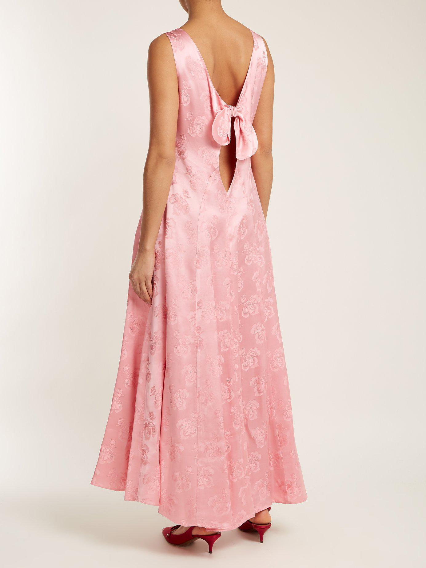 c8d837d0a330 Lyst - ALEXACHUNG Open Back Floral Jacquard Dress in Pink