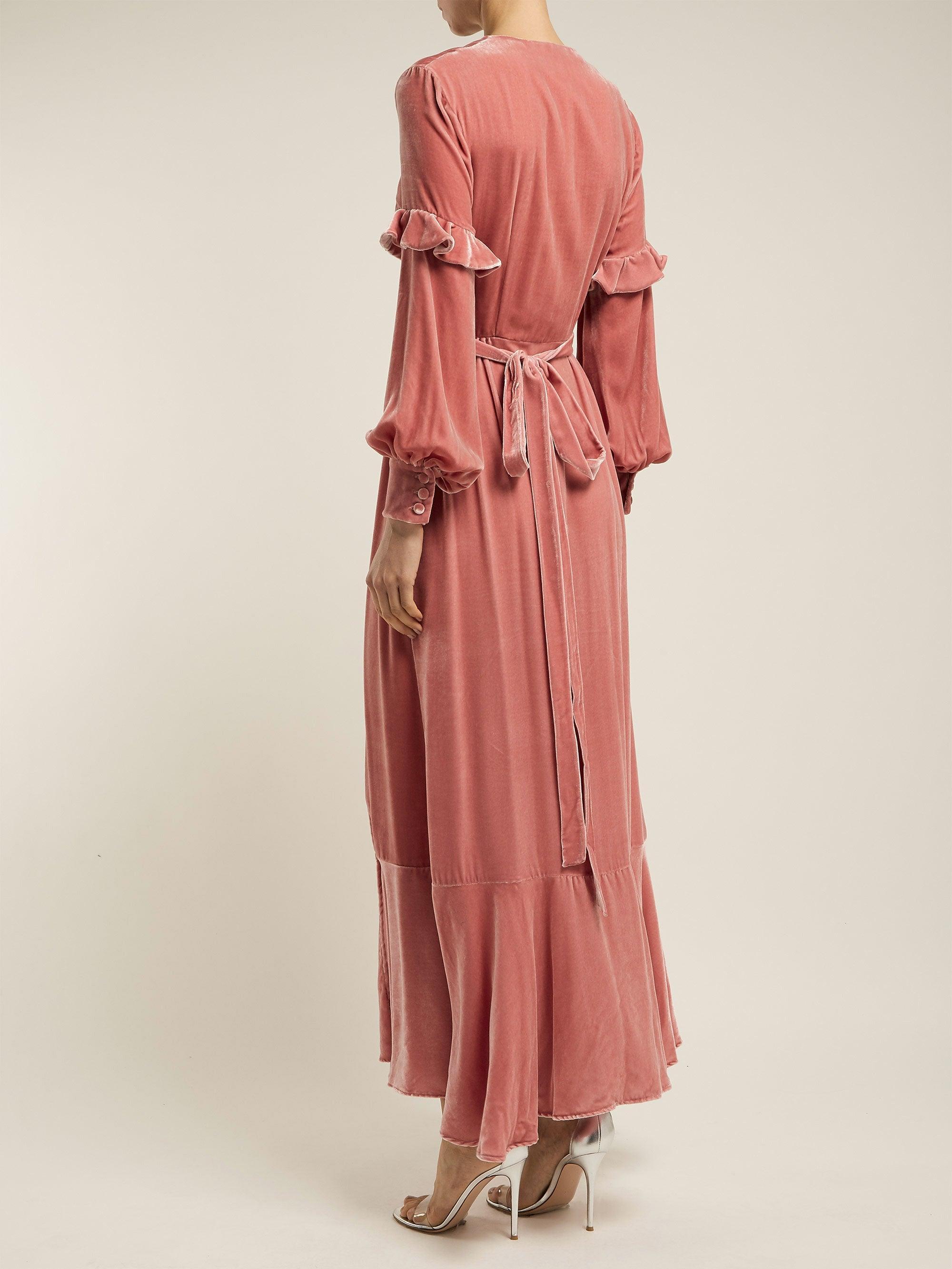 Robe portefeuille en velours de soie Aurora Raquel Diniz en coloris Rose