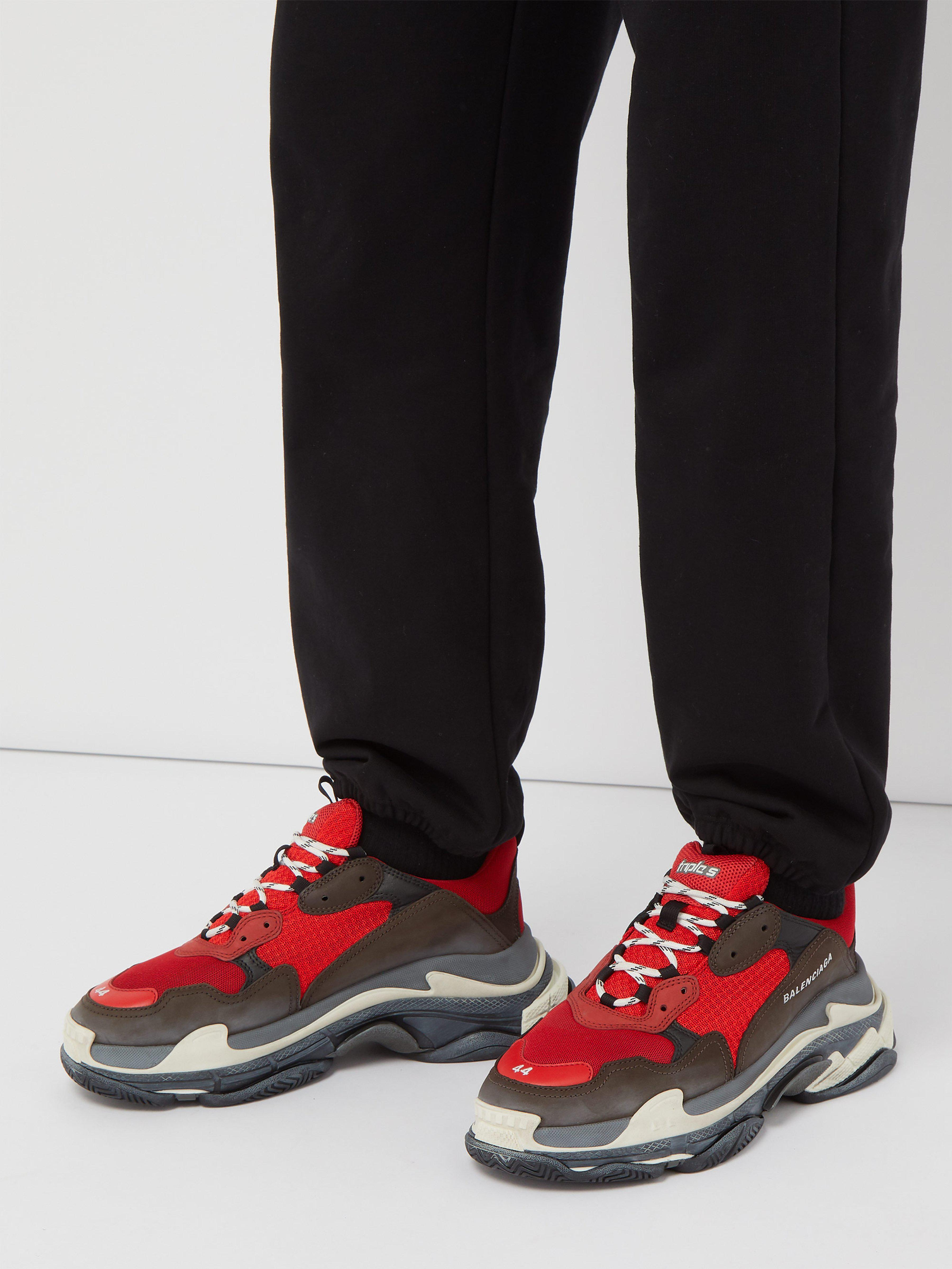 e90c87aea8cc Balenciaga Capsule Triple S Runner Leather And Mesh Trainers in Red for Men  - Save 20% - Lyst