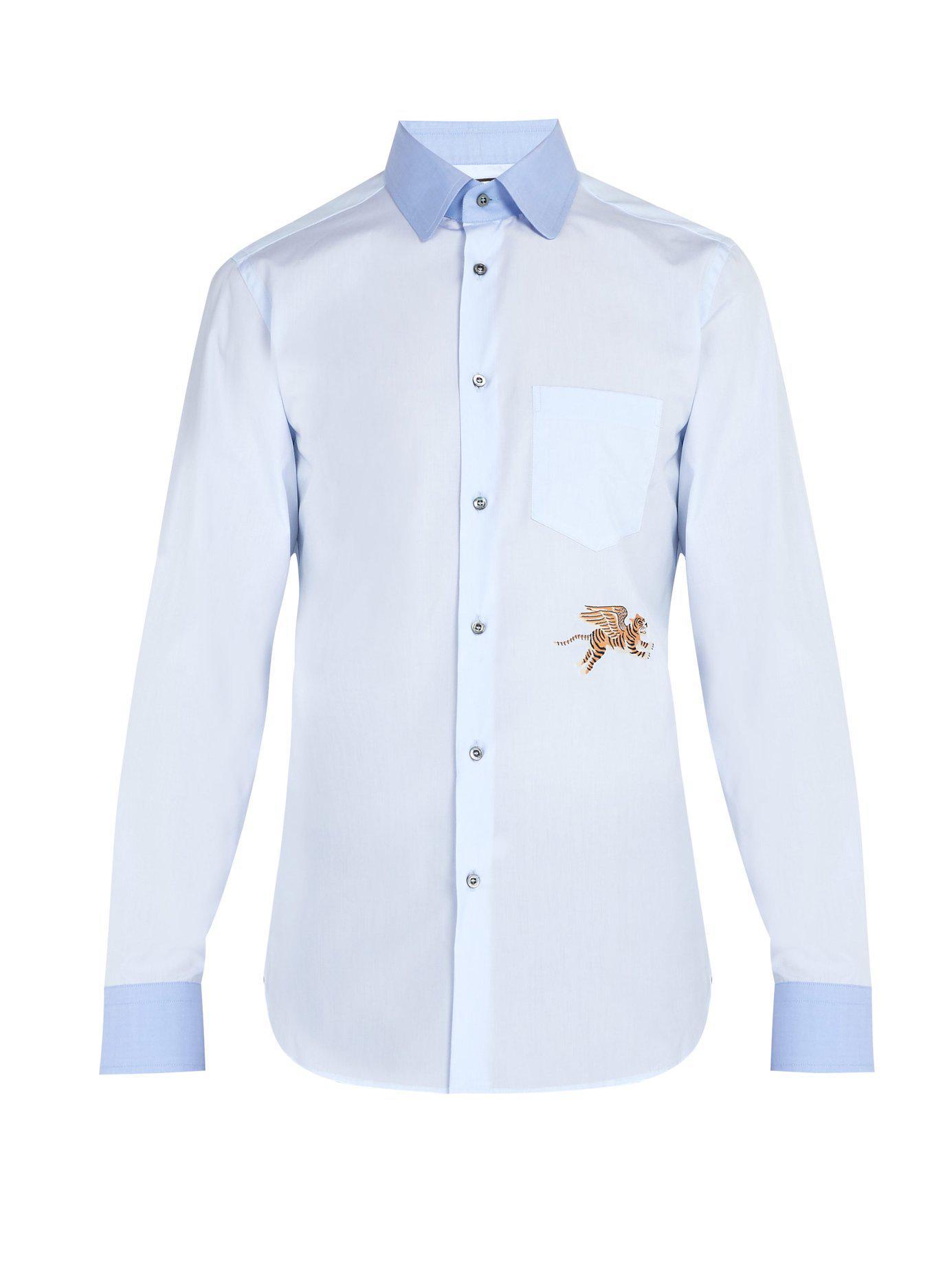 8aea0873b1d Lyst - Gucci Flying Tiger Cotton Poplin Shirt in Blue for Men