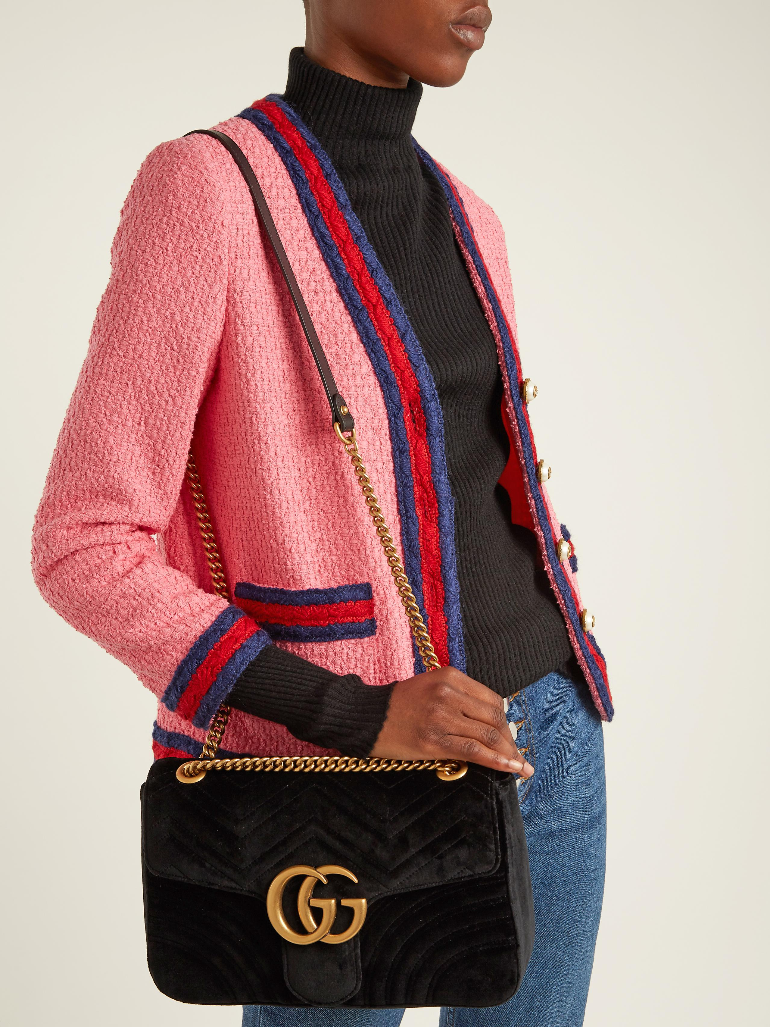 f754ed02 Gucci Multicolor Gg Marmont Medium Quilted Velvet Shoulder Bag