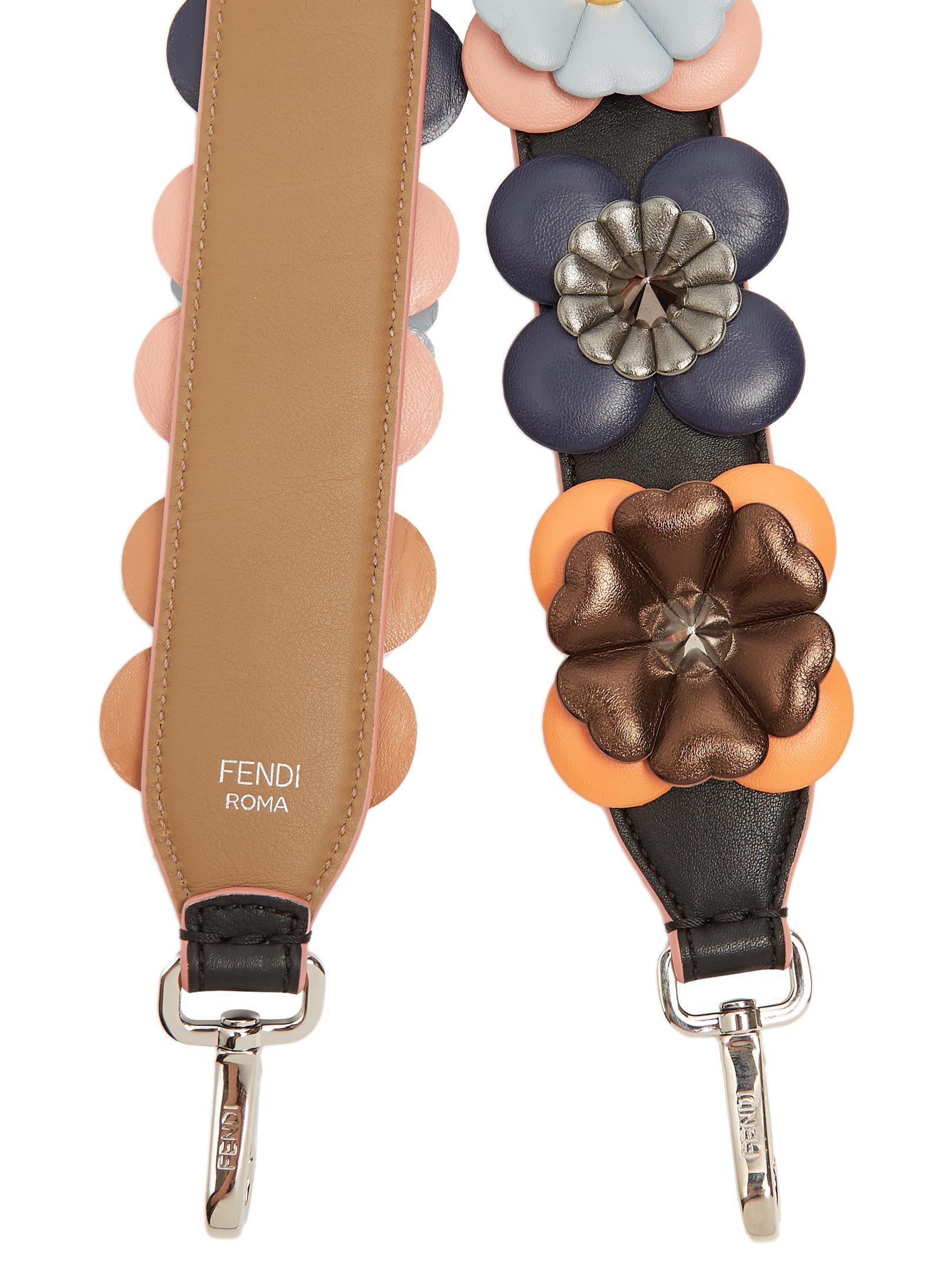 630e2ec52709 Lyst - Fendi Strap You Floral-appliqué Leather Bag Strap