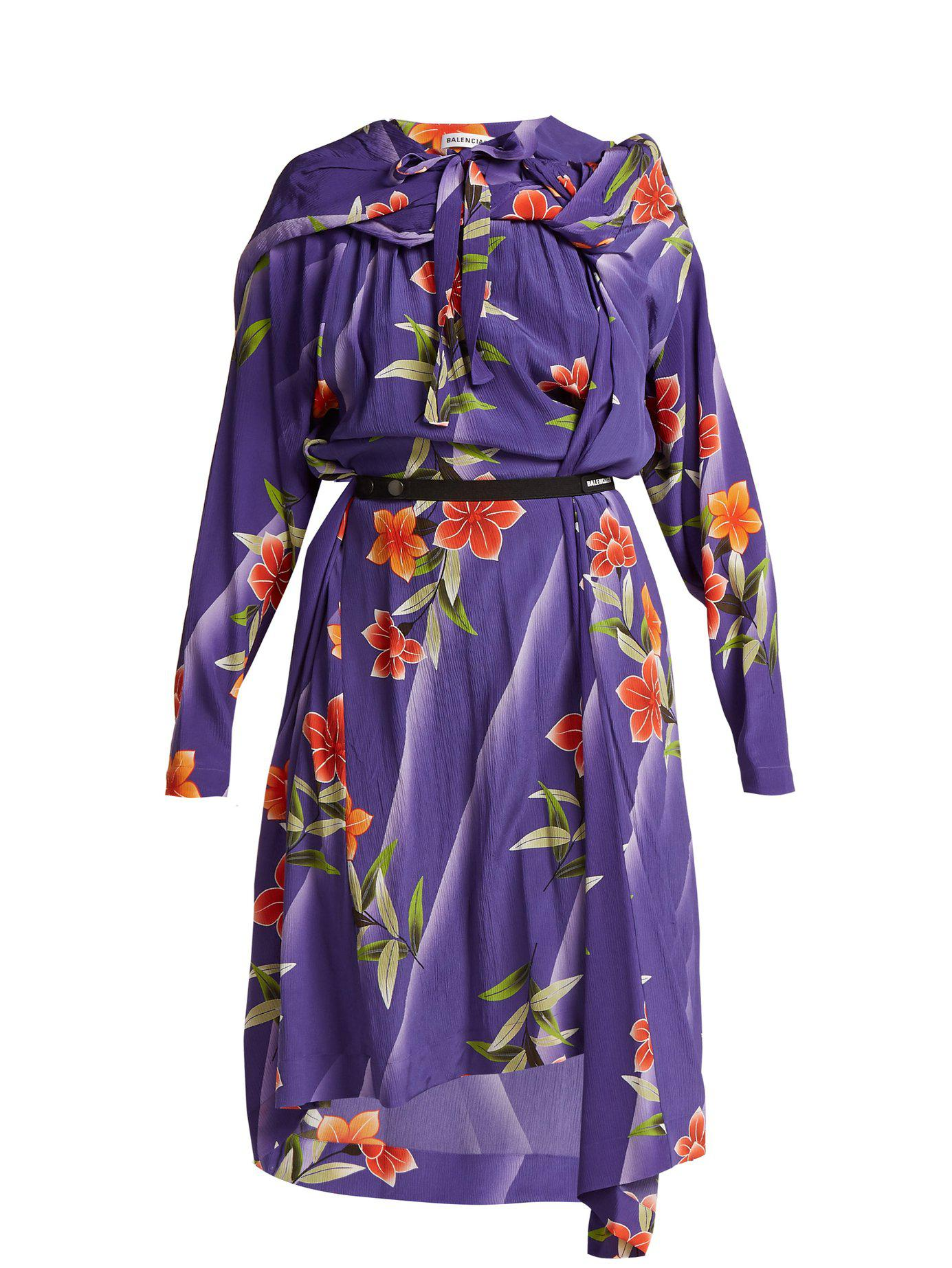 a982db9d5afa Lyst - Balenciaga Floral Print Twisted Silk Dress in Purple