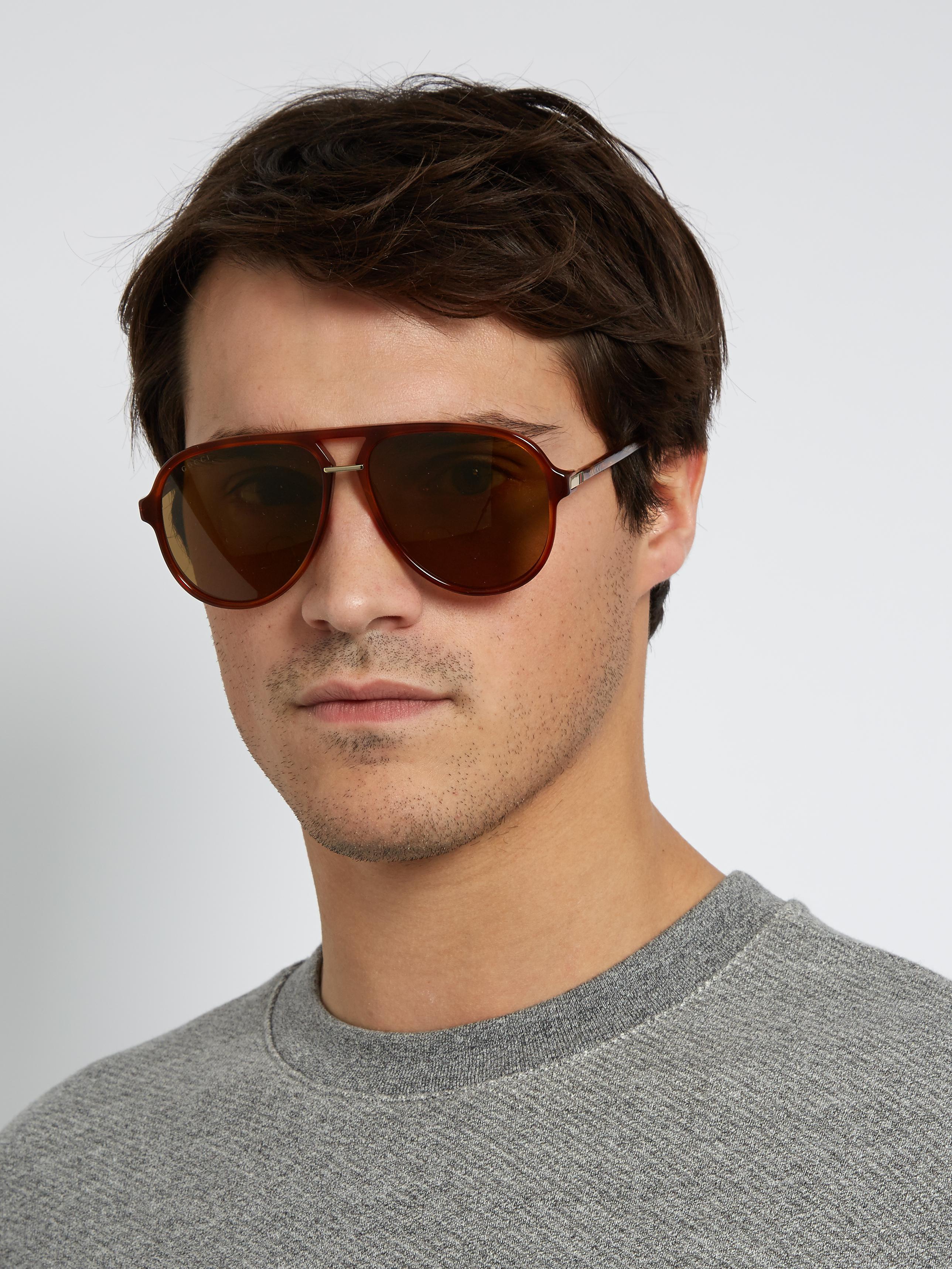 bb2e3cf0de87 Gucci Tortoiseshell Aviator-frame Sunglasses in Brown for Men - Lyst
