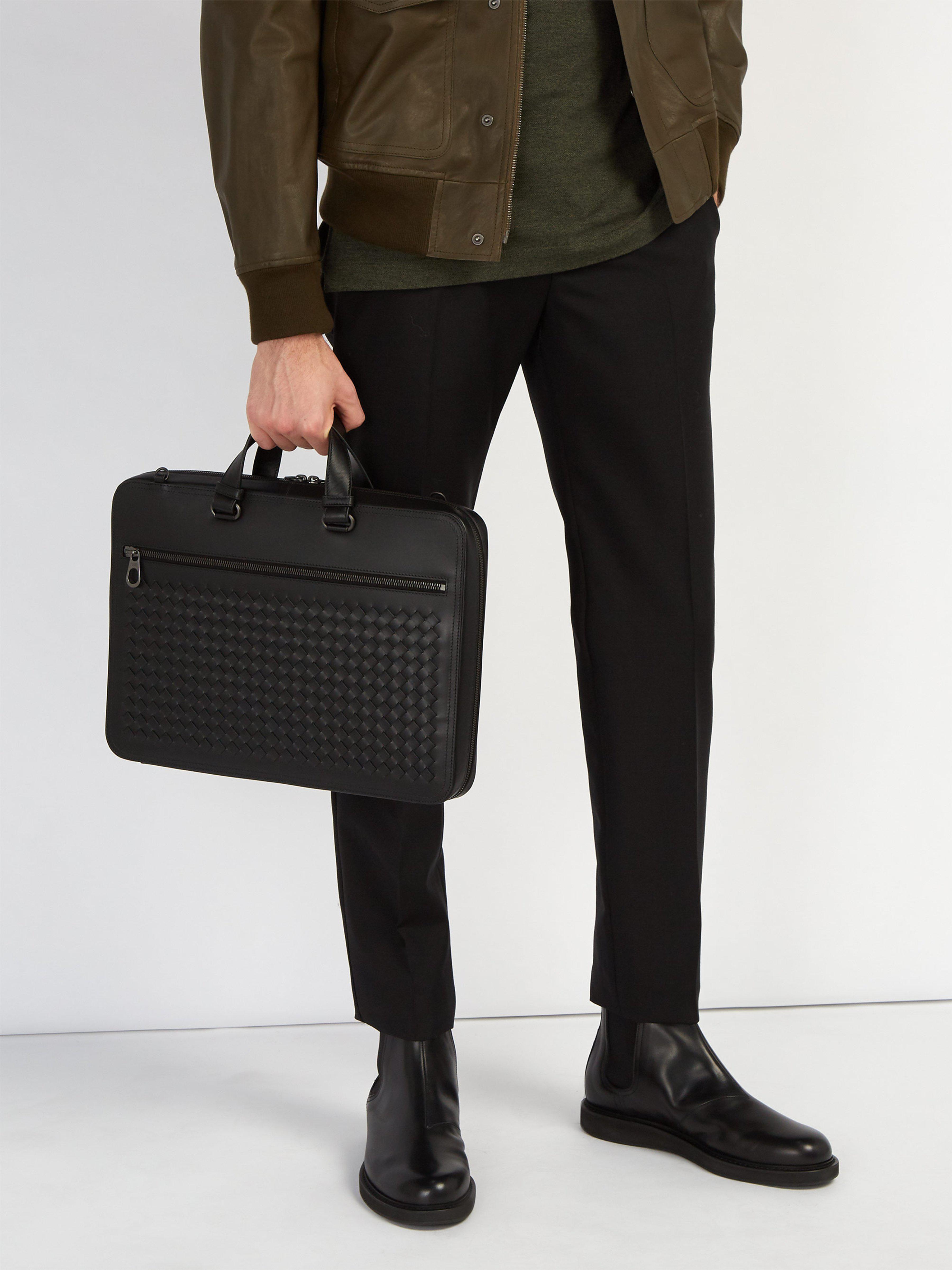 3d5fc3e2223e Bottega Veneta - Black Intrecciato Briefcase for Men - Lyst. View fullscreen