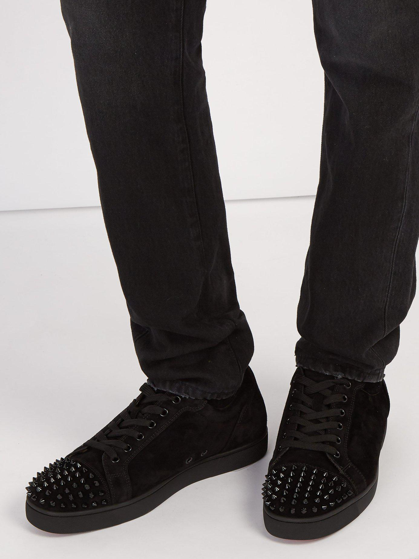 free shipping c74be 6a997 Christian Louboutin Black Louis Junior Spike Embellished Leather Trainers  for men