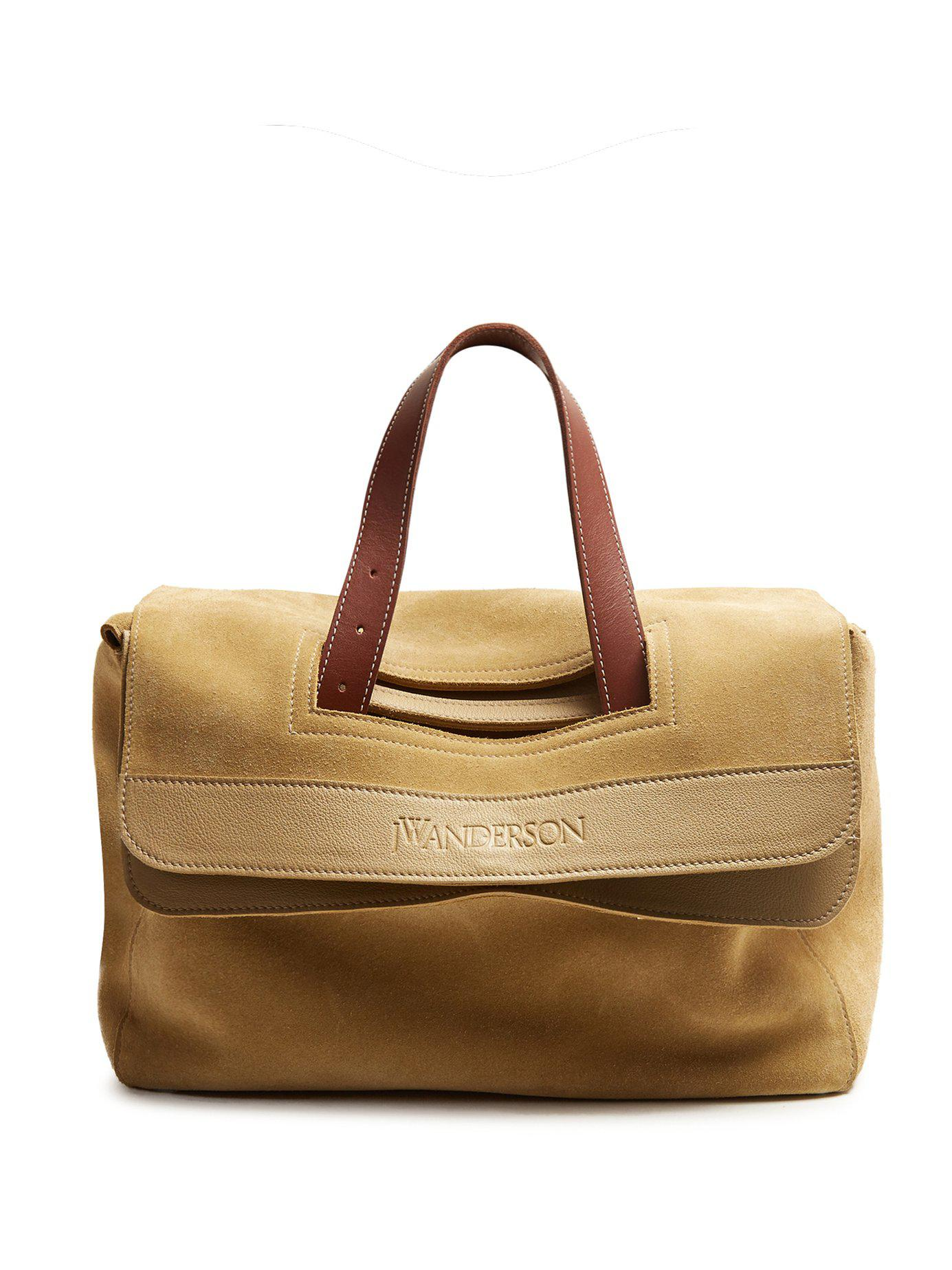 Lyst - JW Anderson Tool Leather-trimmed Suede Tote in Natural 060743e8151be