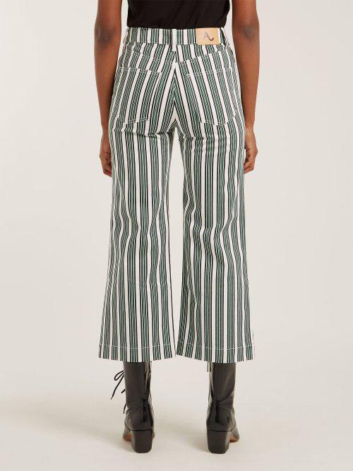 ALEXACHUNG Denim Striped Cropped Jeans
