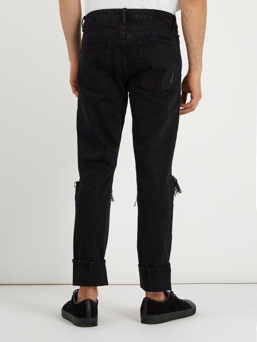 Neuw Denim Lou Distressed Slim-leg Jeans in Black for Men