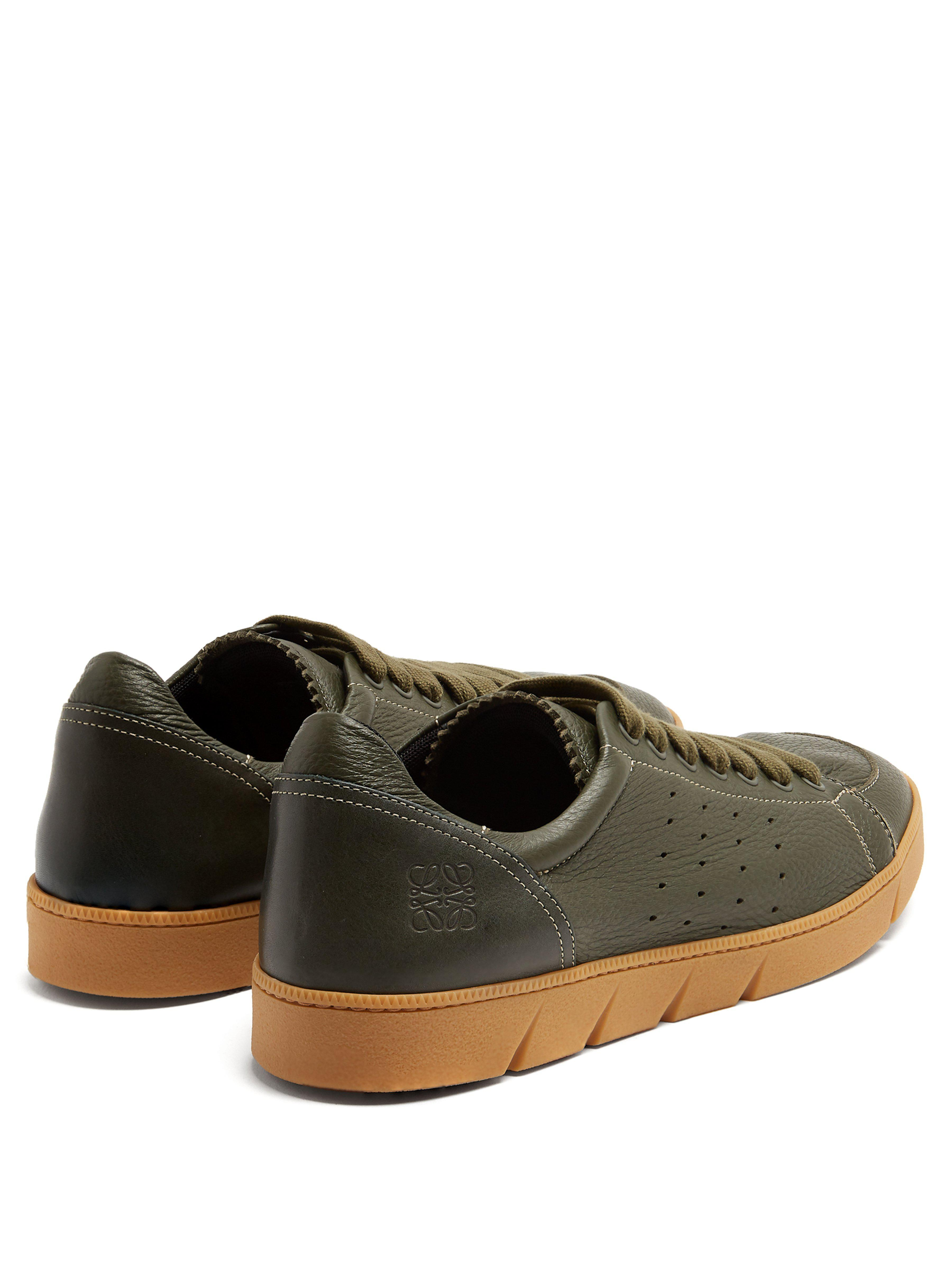 Loewe Round Toe Leather Low Top Trainers for Men