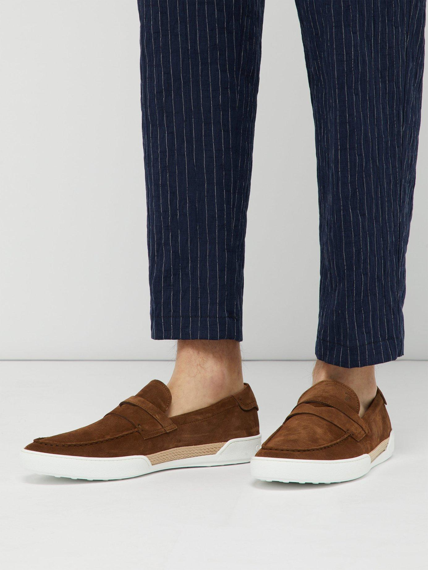 2e085529b7c Lyst - Tod s Espadrille Trimmed Suede Penny Loafers in Brown for Men
