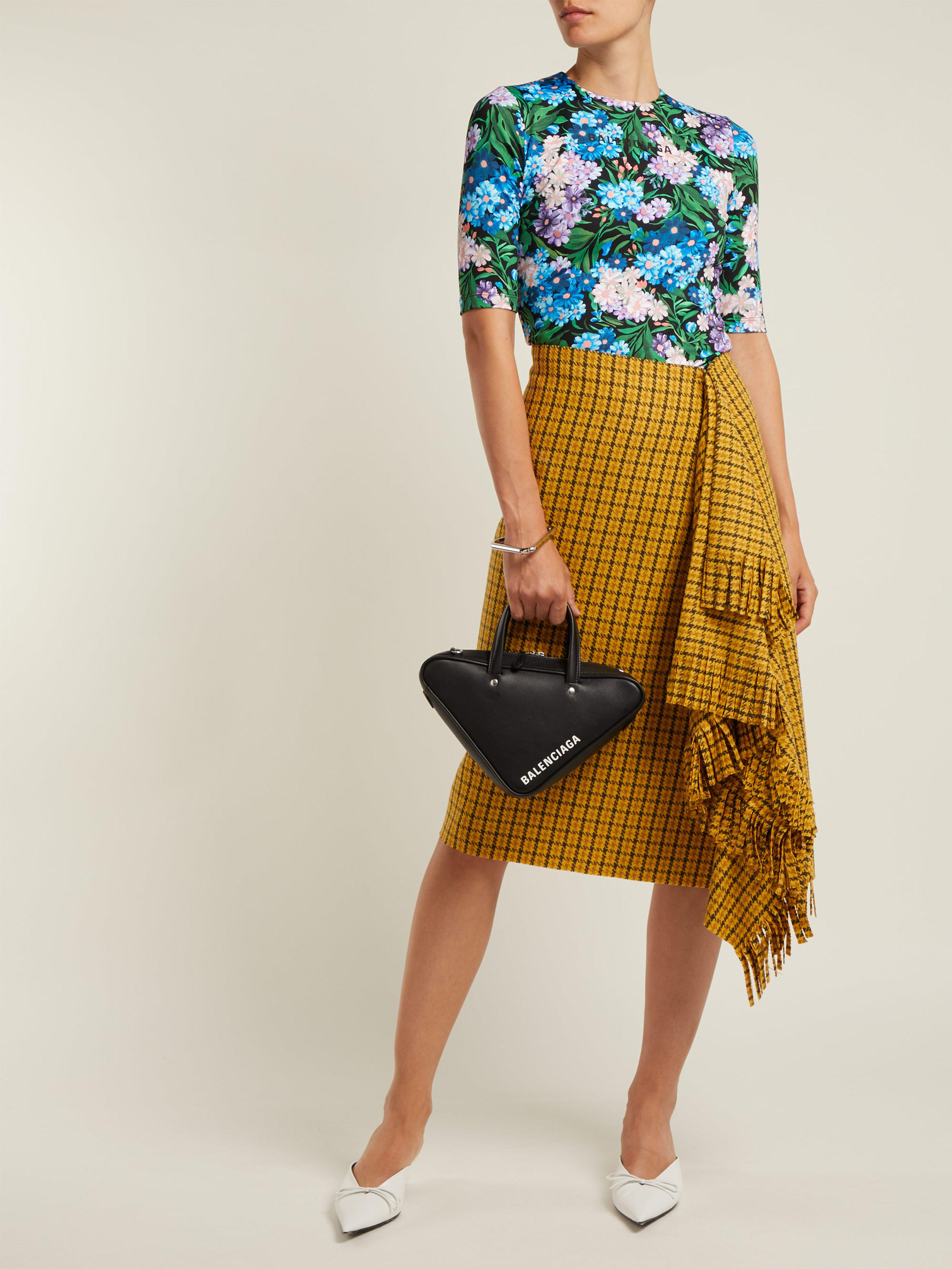 77941852a30a Balenciaga - Multicolor Logo And Floral Print Stretch Jersey Top - Lyst.  View fullscreen