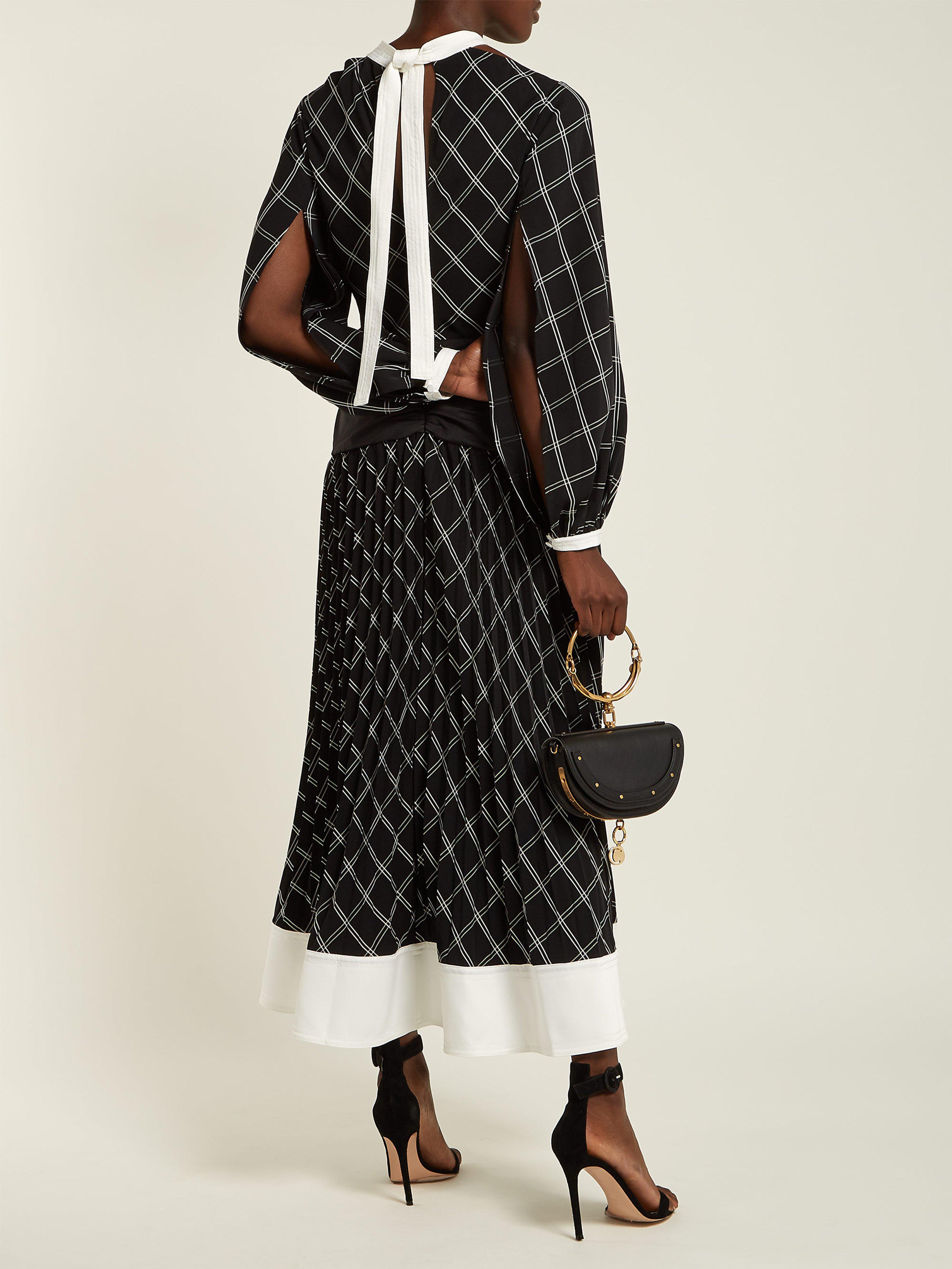 cbe4c85dc123d Self-Portrait Check Print Midi Dress in Black - Save 14% - Lyst