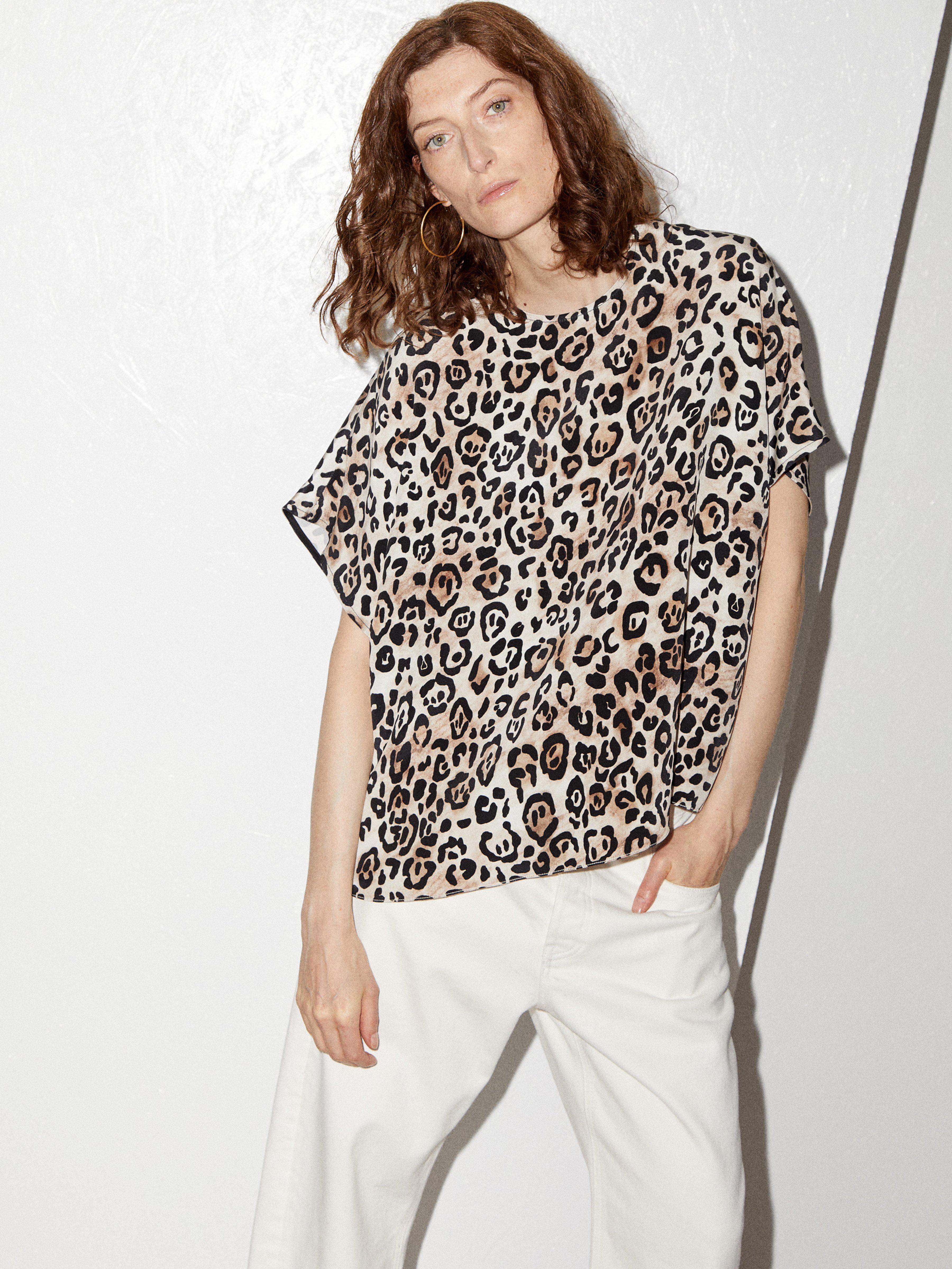 b7fb1e17b2dea6 Raey Square Leopard Print Silk Top - Lyst