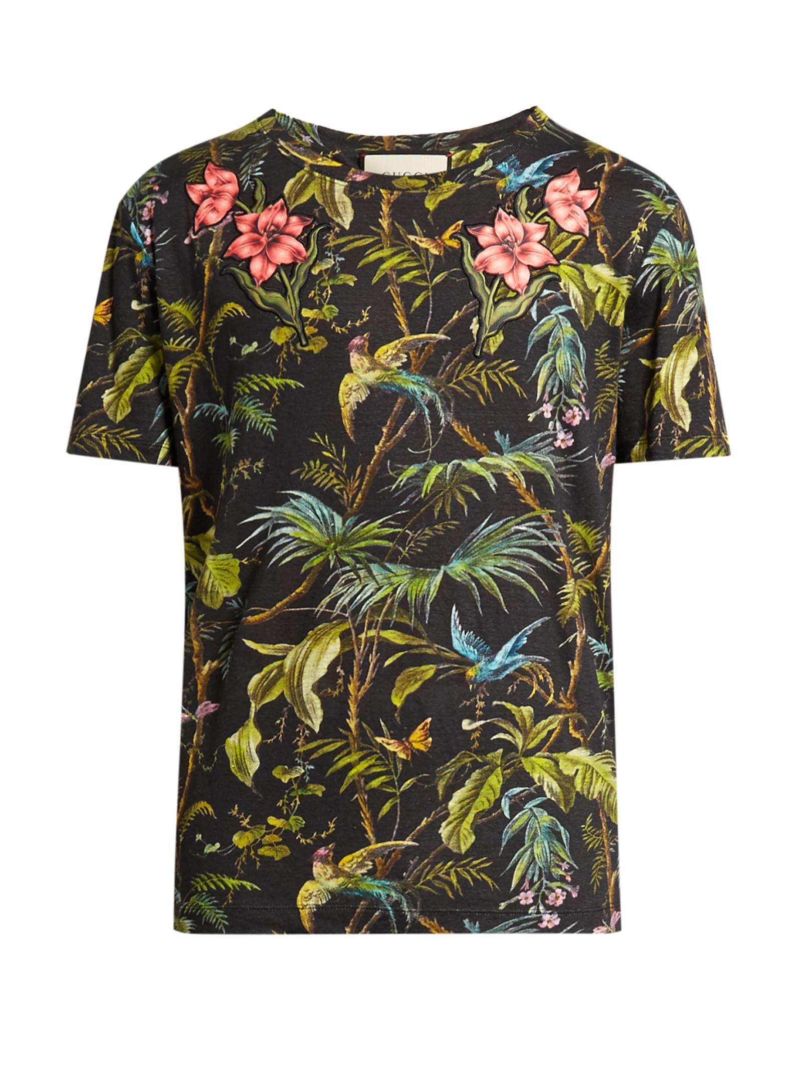 Gucci Jungle Print And Appliqu 233 Linen T Shirt For Men Lyst