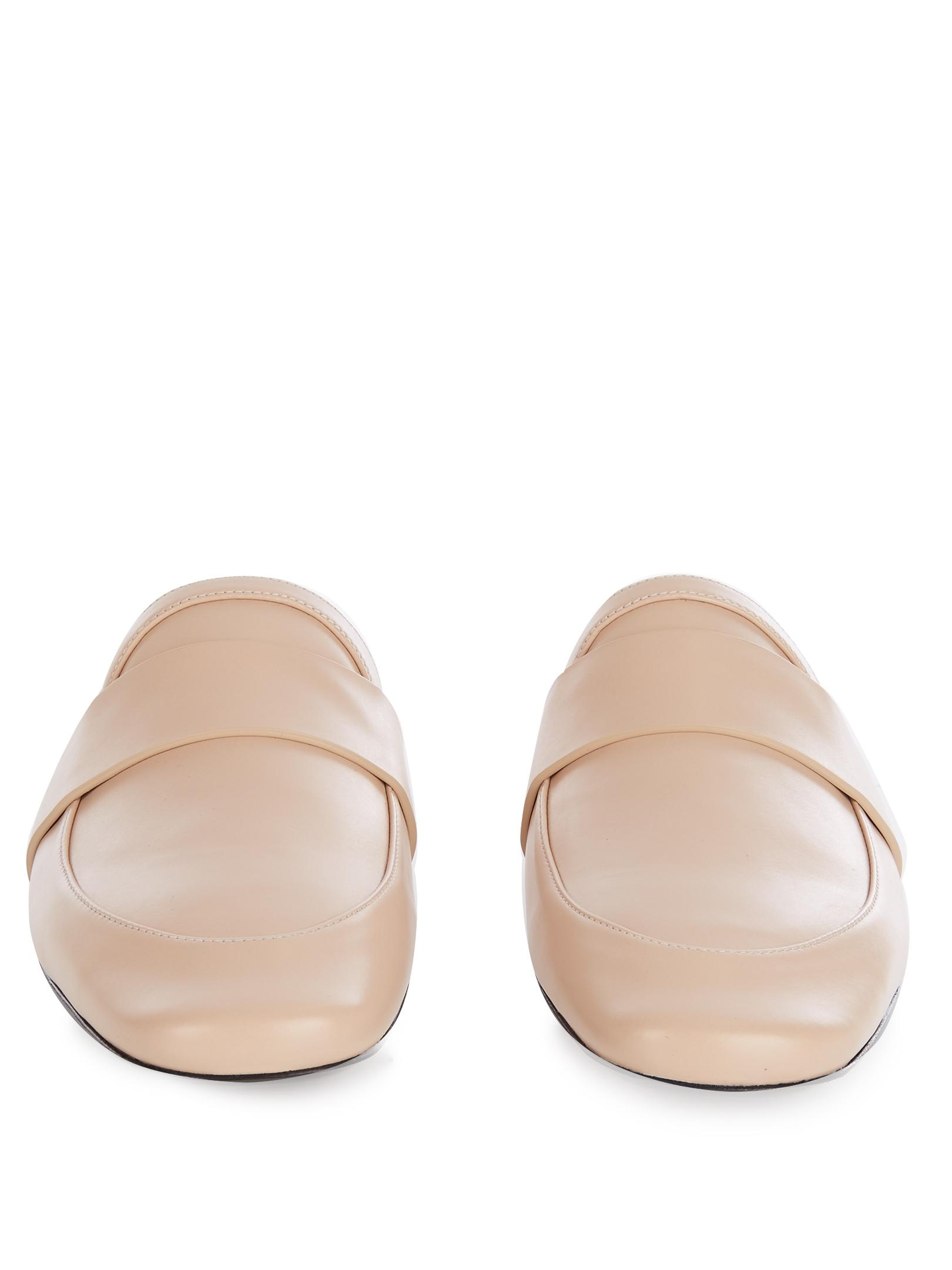 Jil Sander Leather Backless Loafers In Natural Lyst