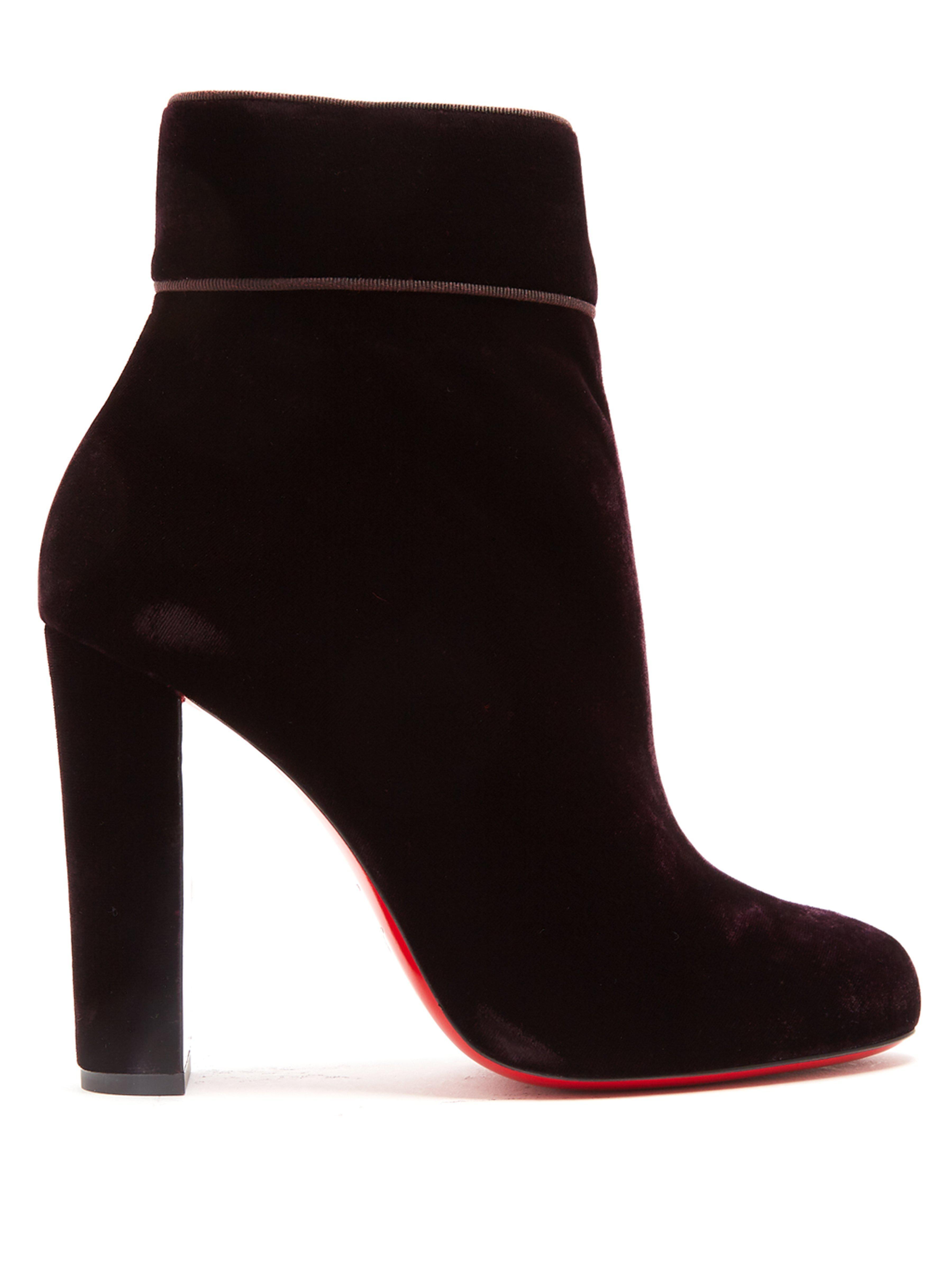 best sneakers 20245 ed486 Christian Louboutin Moulamax 100mm Velvet Boots in Dark ...