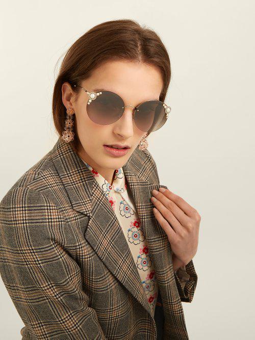 Miu Miu Round-frame Embellished Sunglasses in Grey