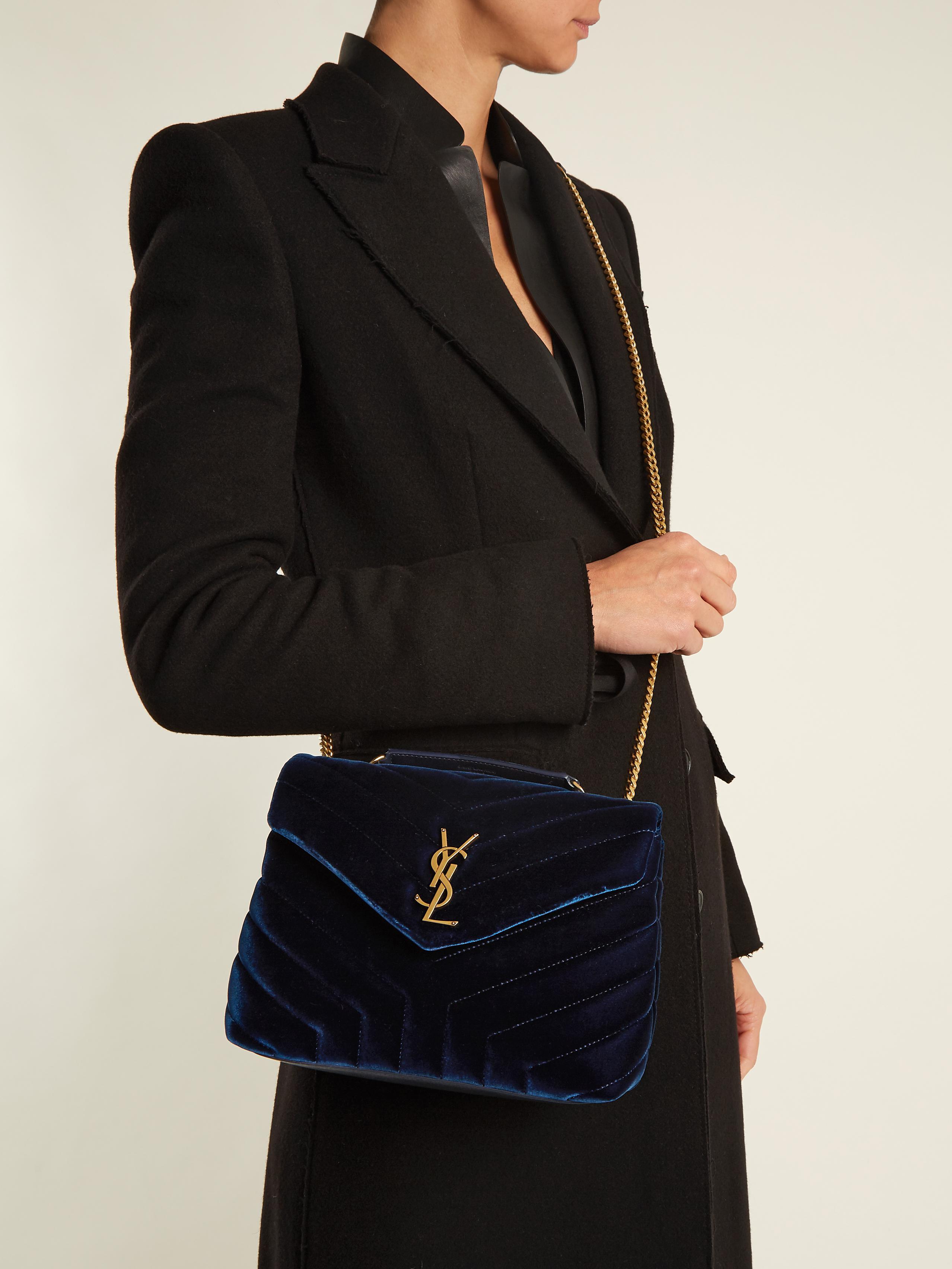 Saint Laurent Loulou Velvet Shoulder Bag In Navy Blue Lyst
