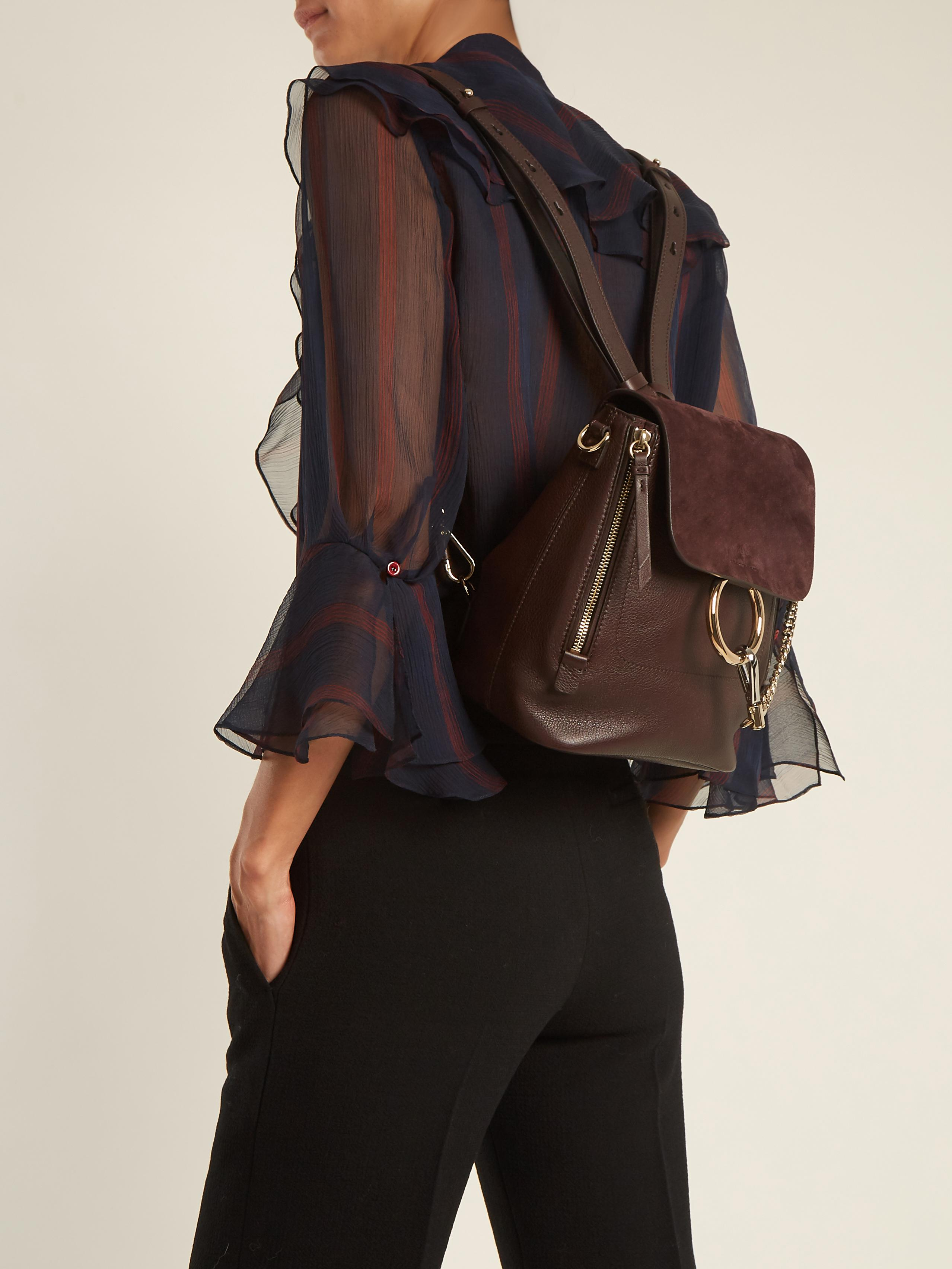 9529a72b Chloé Brown Faye Small Suede And Leather Backpack